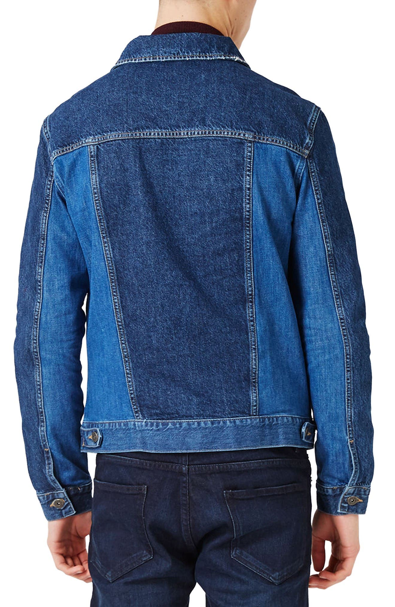 Alternate Image 3  - Topman Two-Tone Denim Jacket