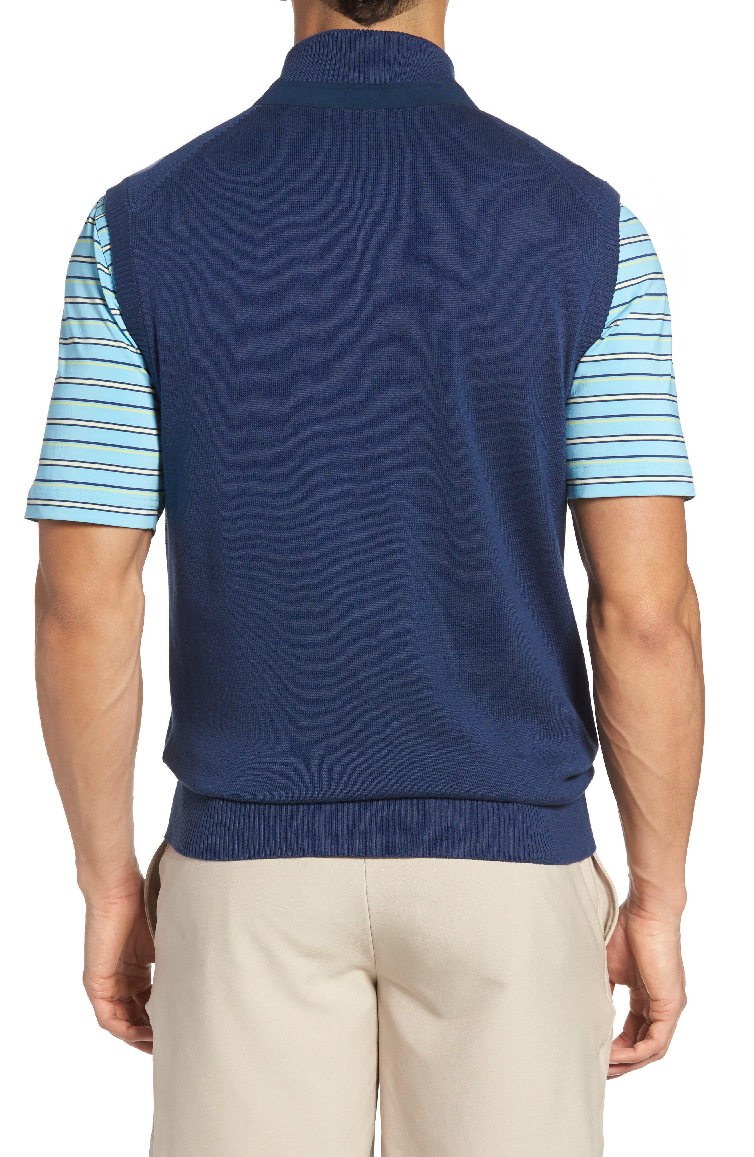 Piqué Jersey Quarter Zip Golf Vest,                             Alternate thumbnail 2, color,                             Summer Navy