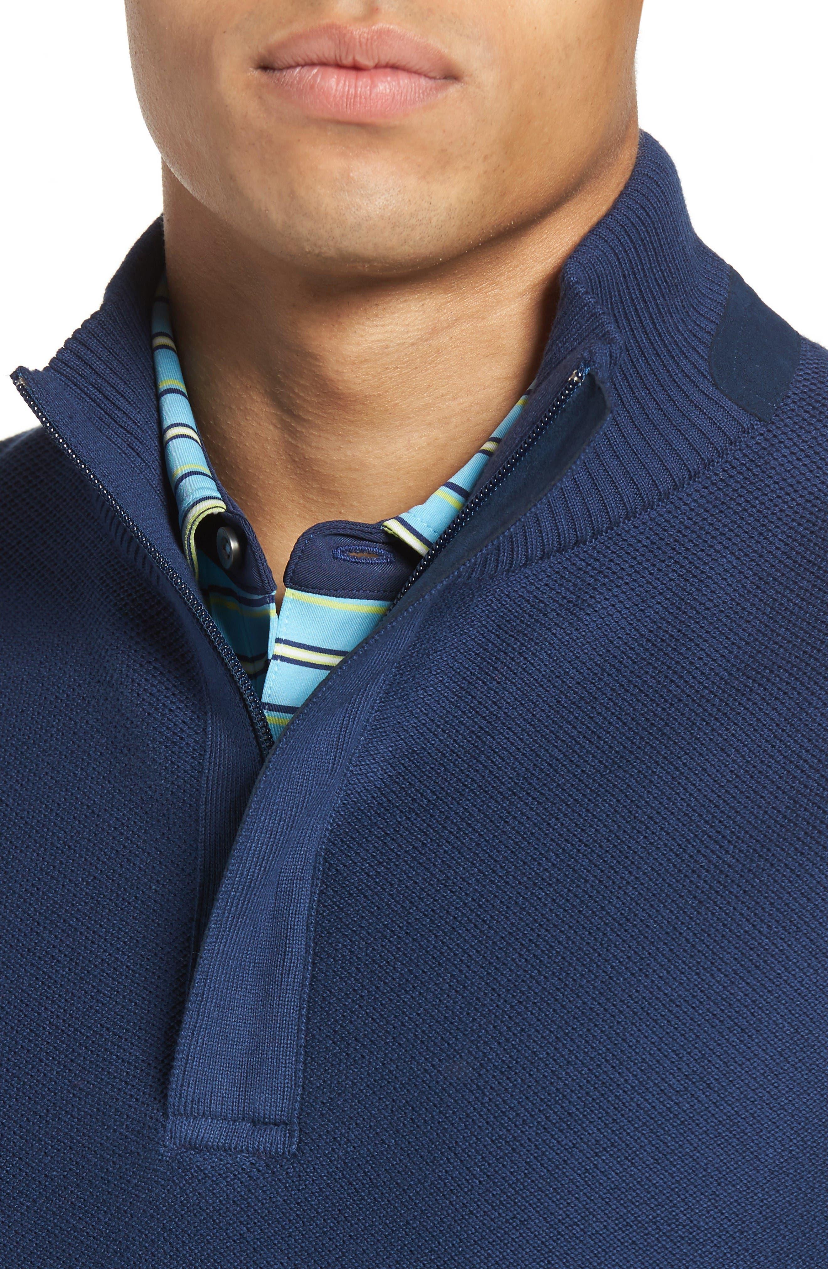 Piqué Jersey Quarter Zip Golf Vest,                             Alternate thumbnail 4, color,                             Summer Navy