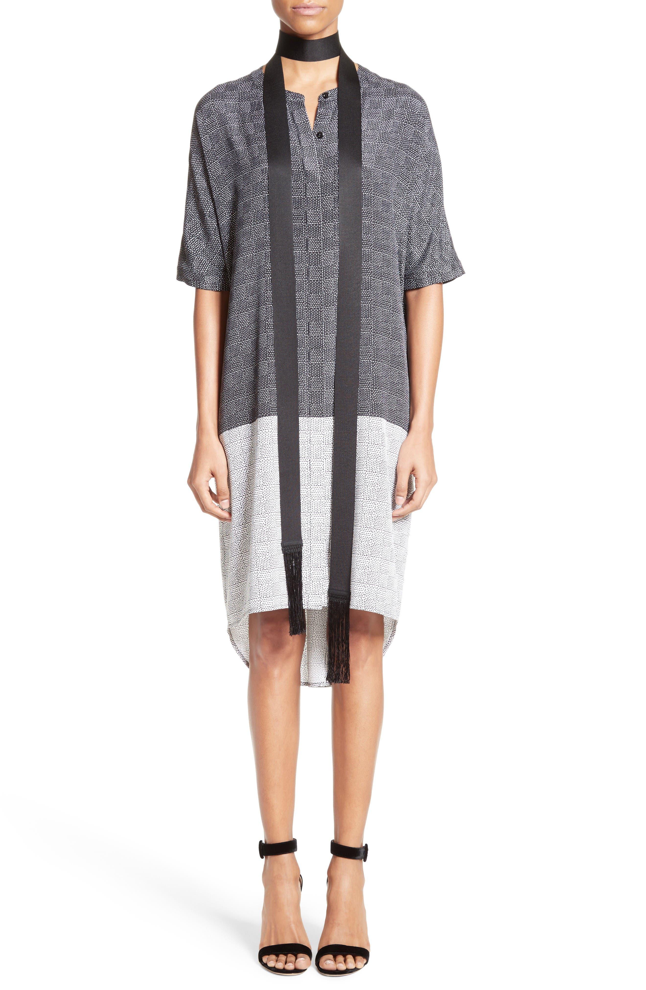 Alternate Image 7  - St. John Collection Stitching Print Stretch Silk Shirtdress