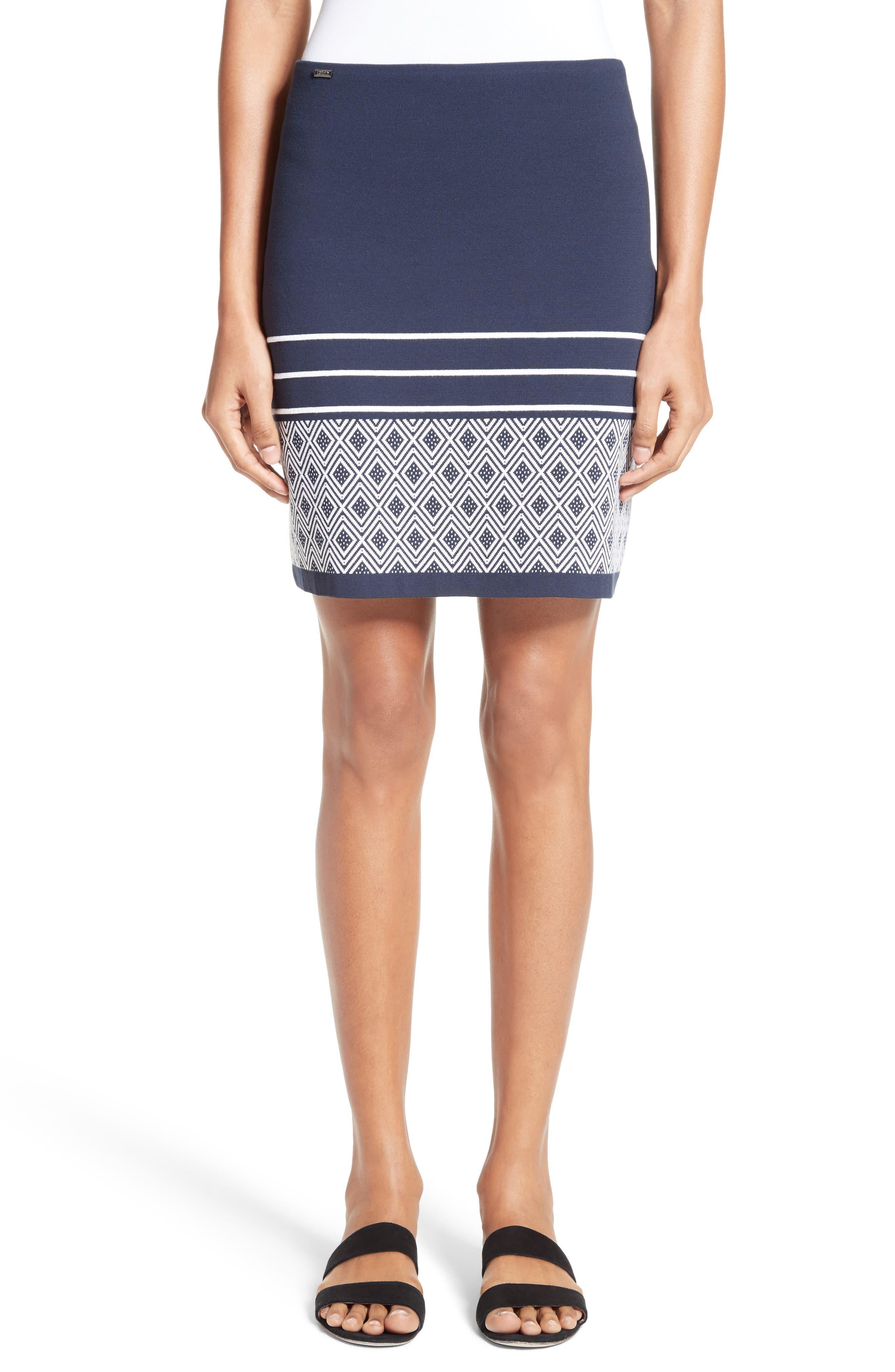 St. John Collection Diamond Double Jacquard Knit Skirt