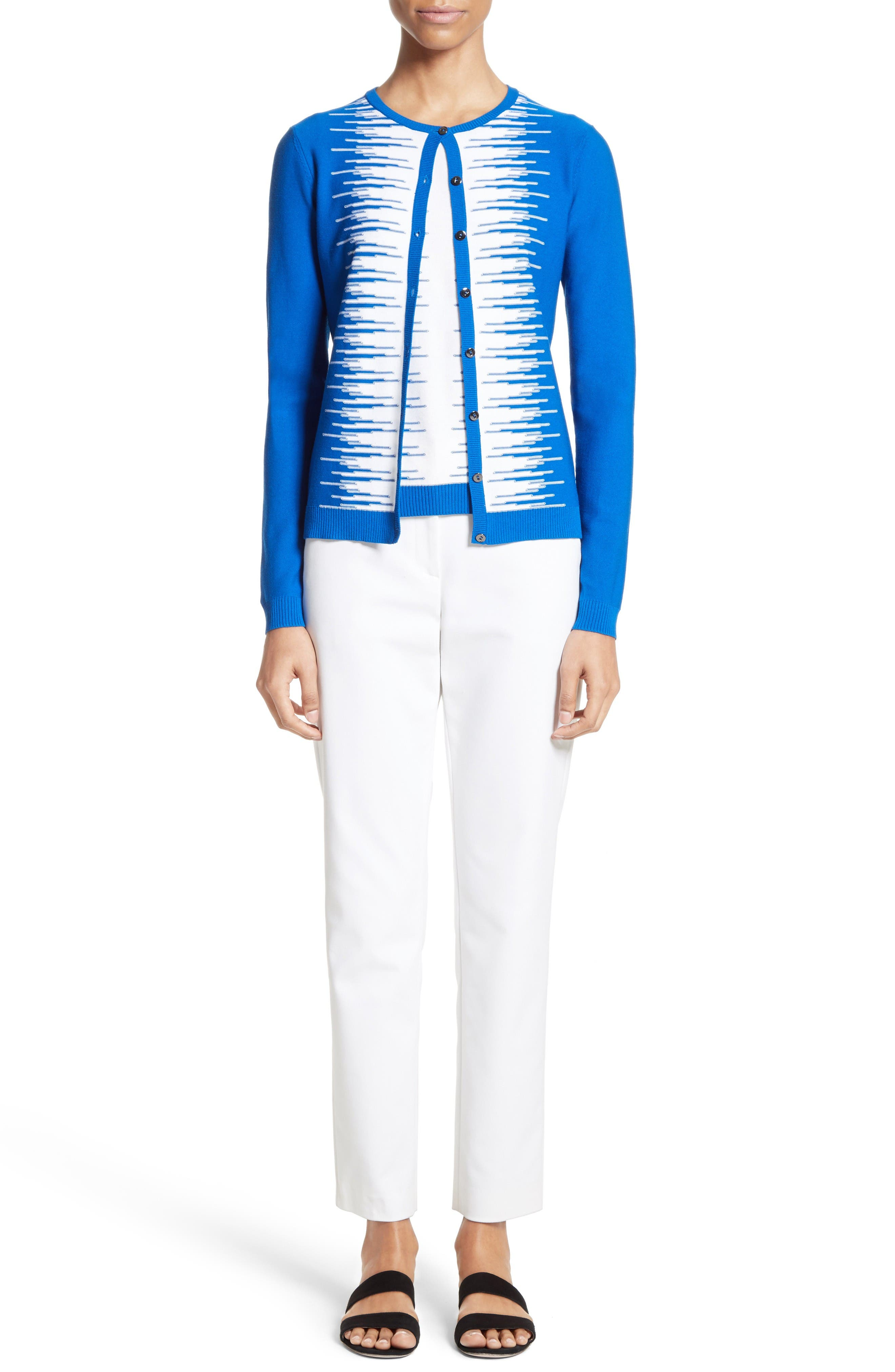 Stripe Intarsia Knit Cardigan,                             Alternate thumbnail 2, color,                             Jaya Blue/ Bianco