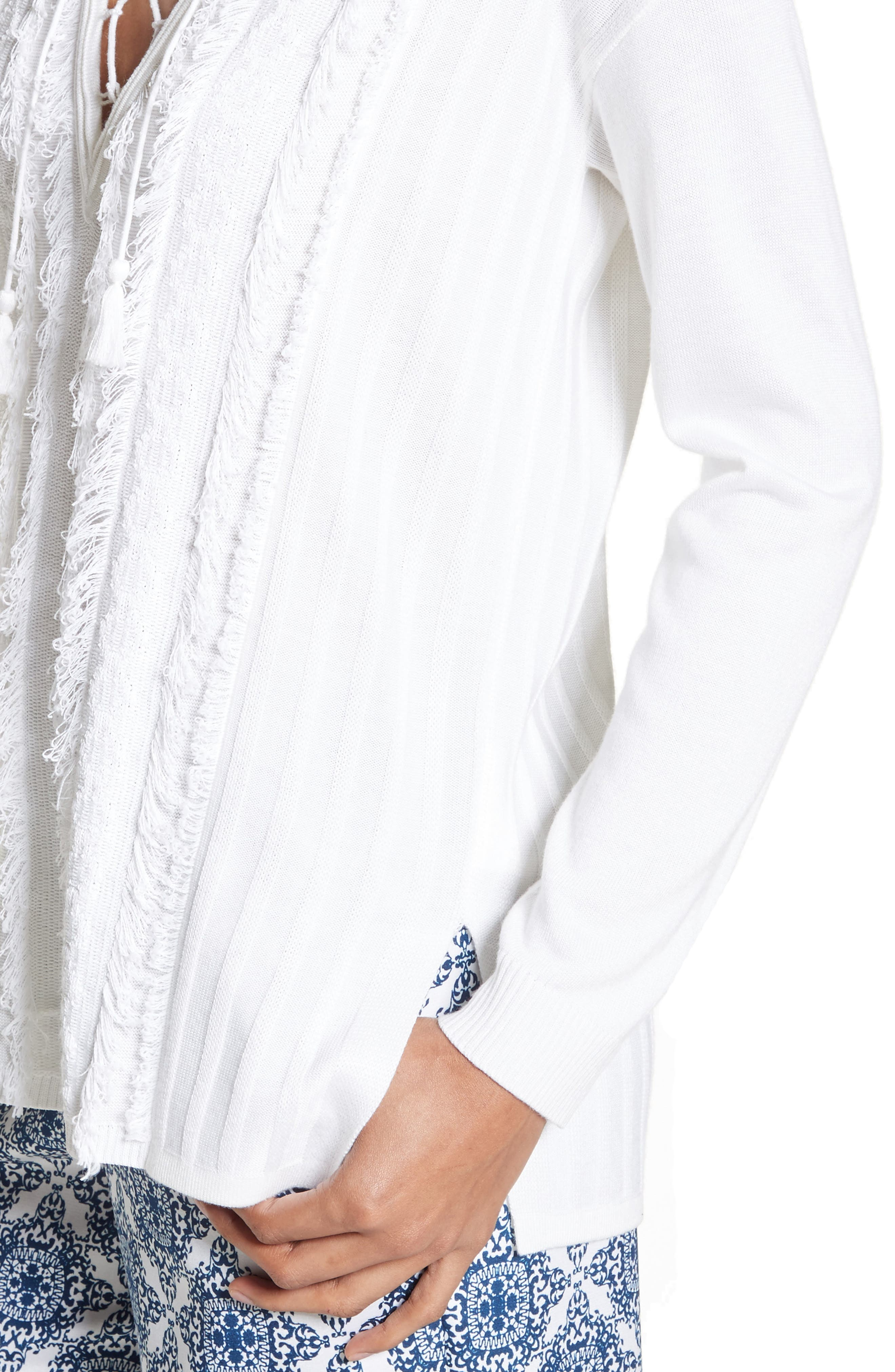 Fil Coupé Lace-Up Tunic,                             Alternate thumbnail 4, color,                             Bianco