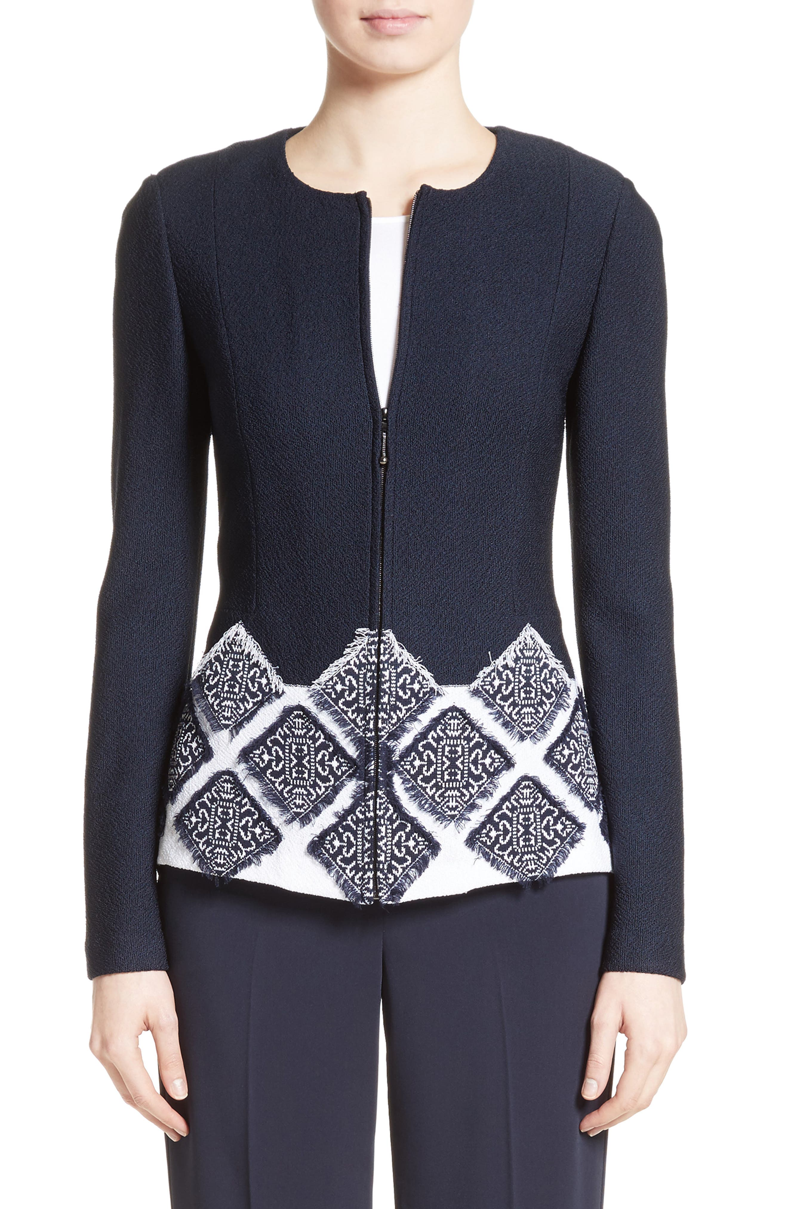 Main Image - St. John Collection Ahem Knit Fil Coupé Jacket