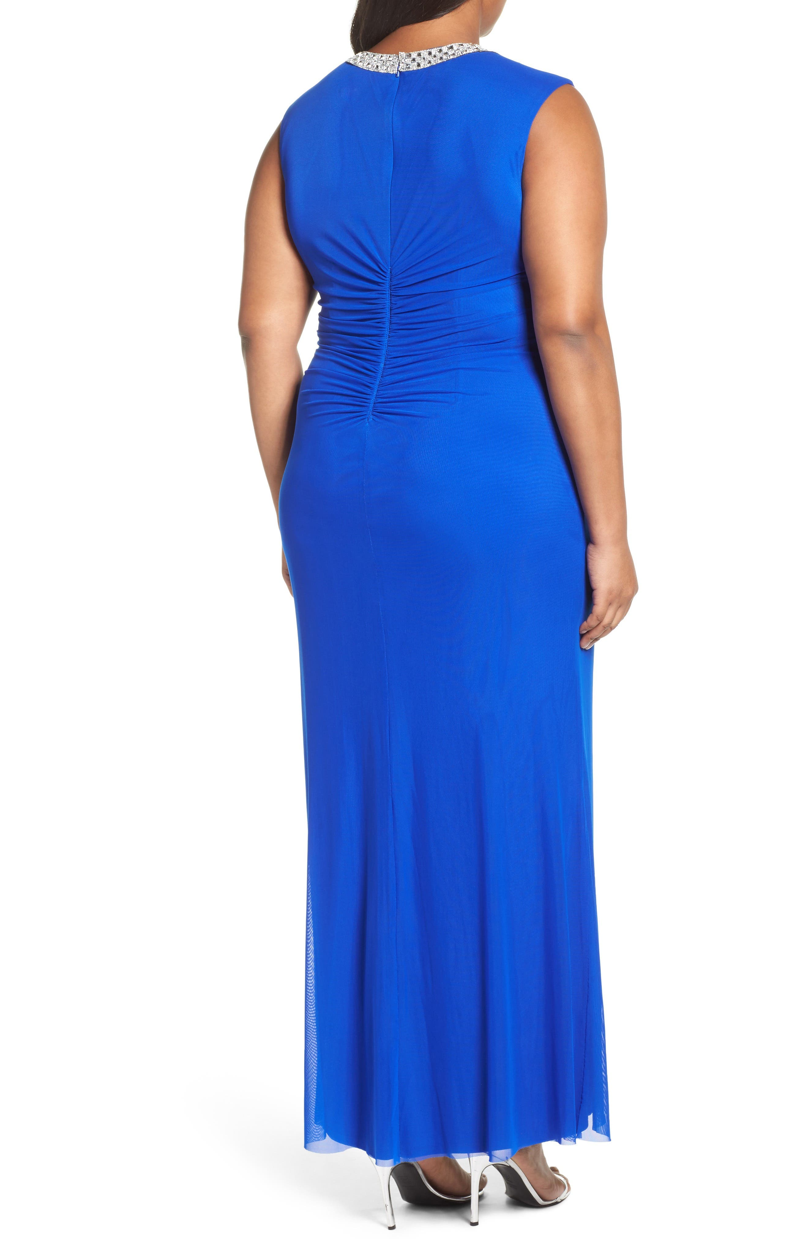 Alternate Image 2  - Marina Embellished Faux Wrap Gown (Plus Size)