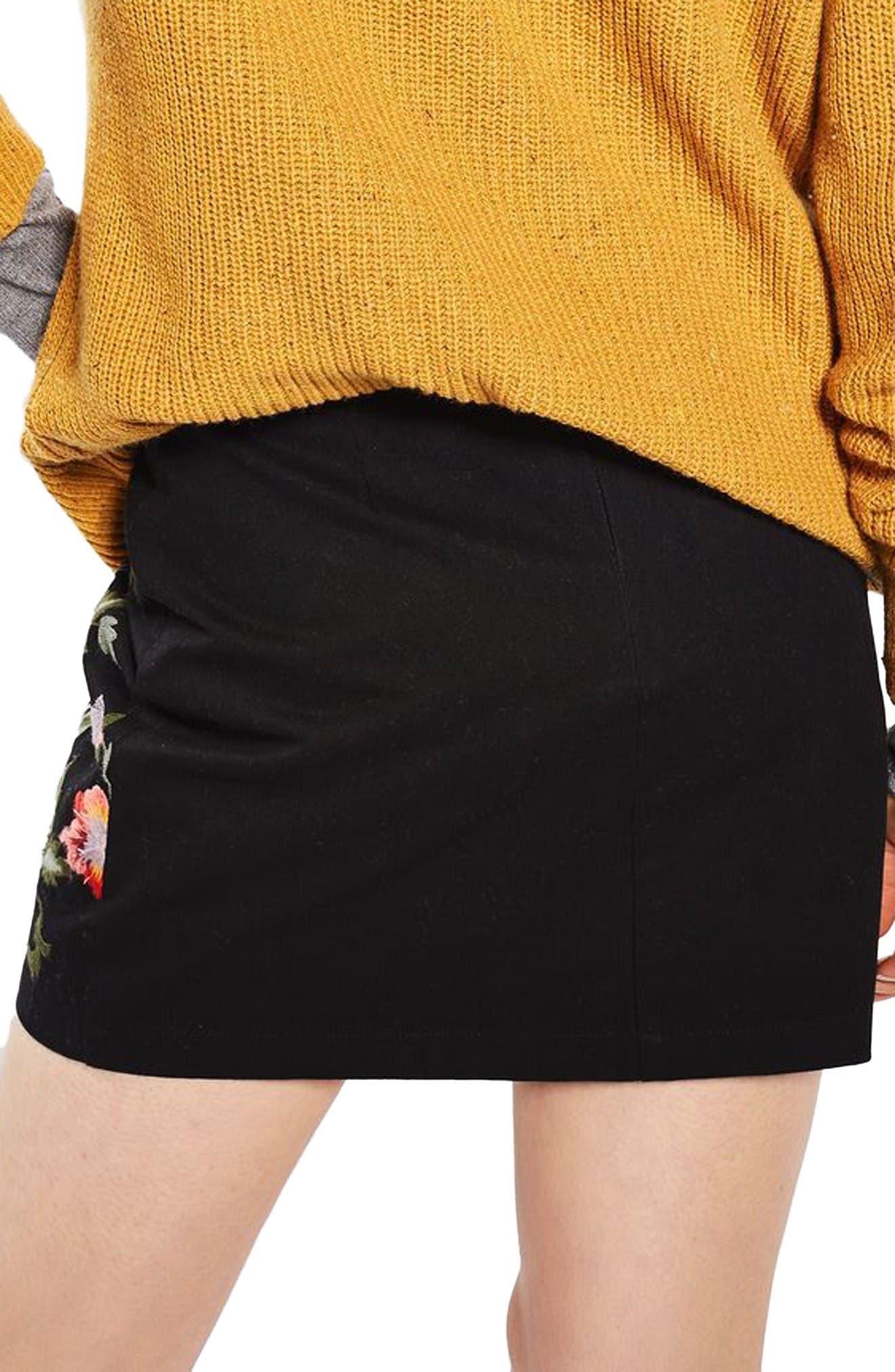 Alternate Image 3  - Topshop Ivy Flower Embroidered Skirt