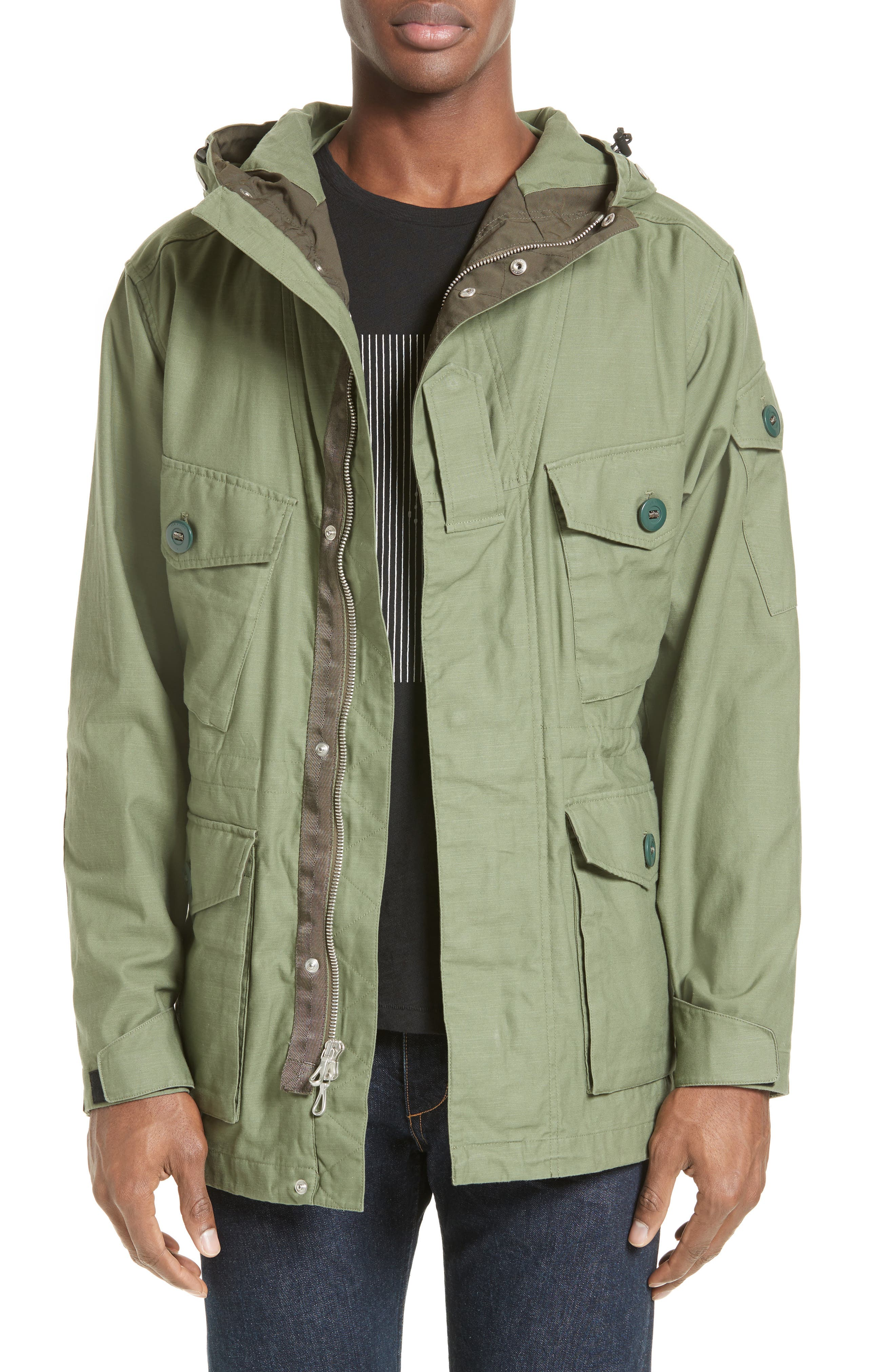 Miles Hooded Military Parka,                         Main,                         color, Army Green