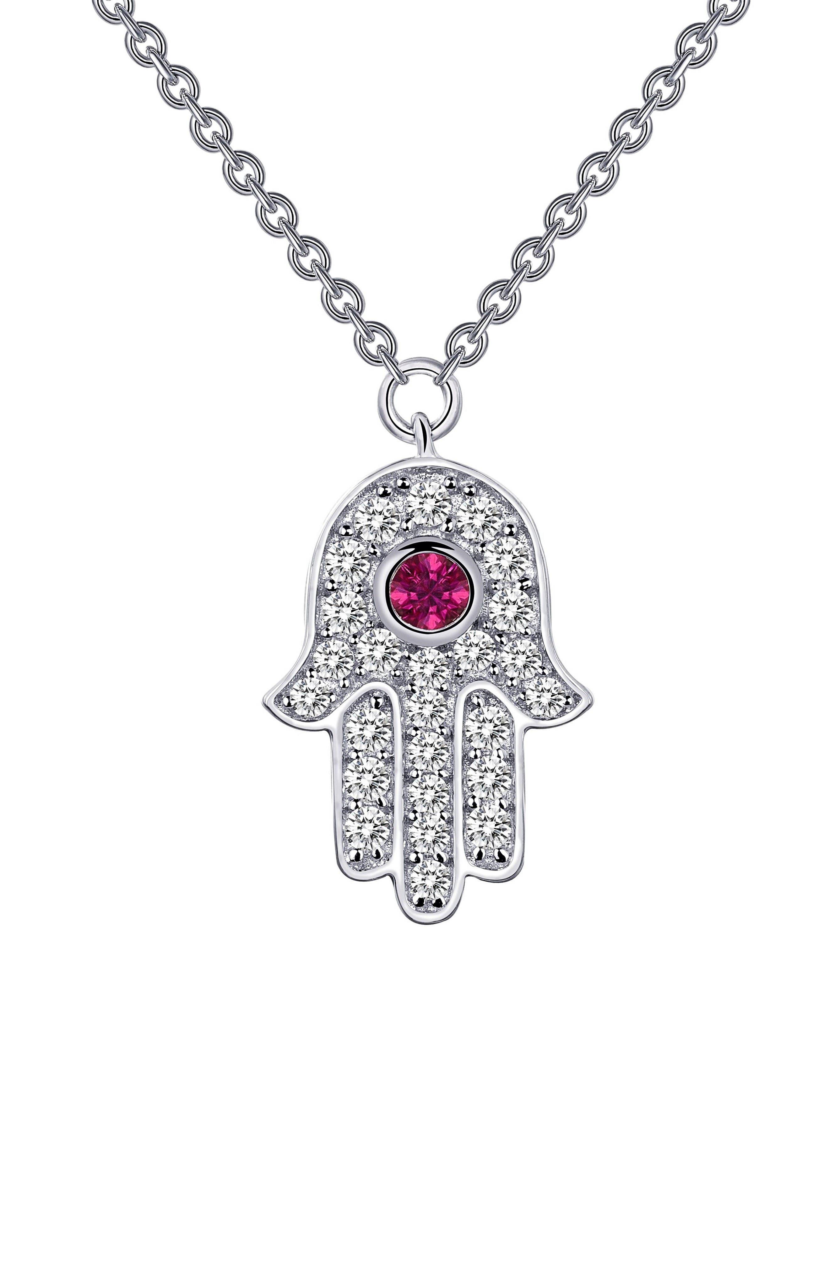 Simulated Diamond Hamsa Pendant Necklace,                         Main,                         color, Ruby / Silver