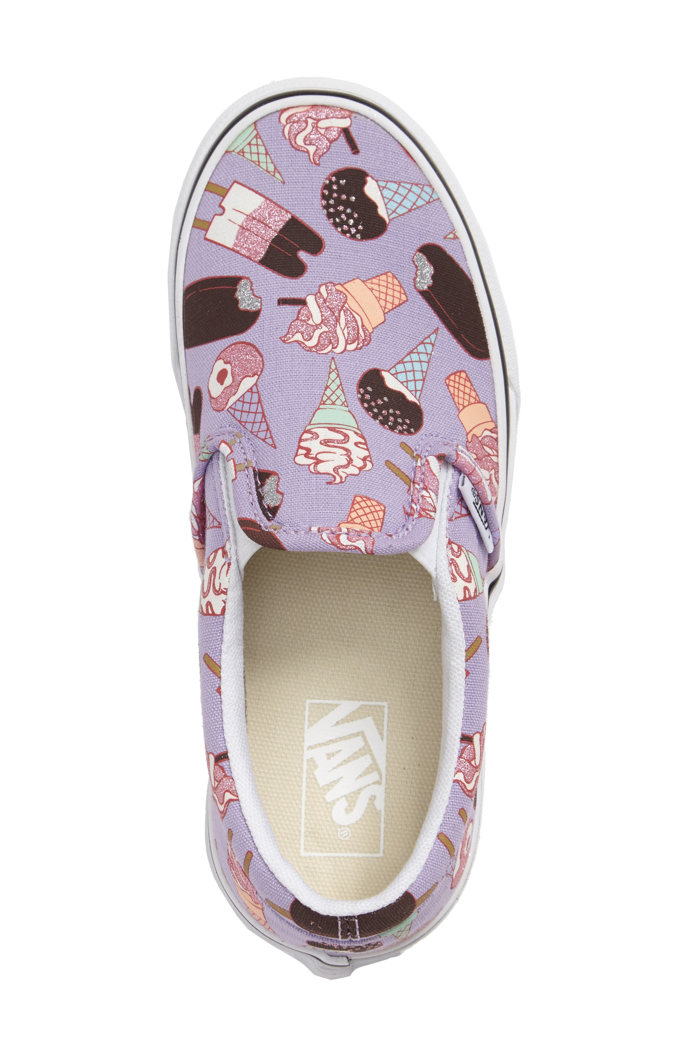 Classic Slip-On,                             Alternate thumbnail 3, color,                             Glitter Lavender/ White