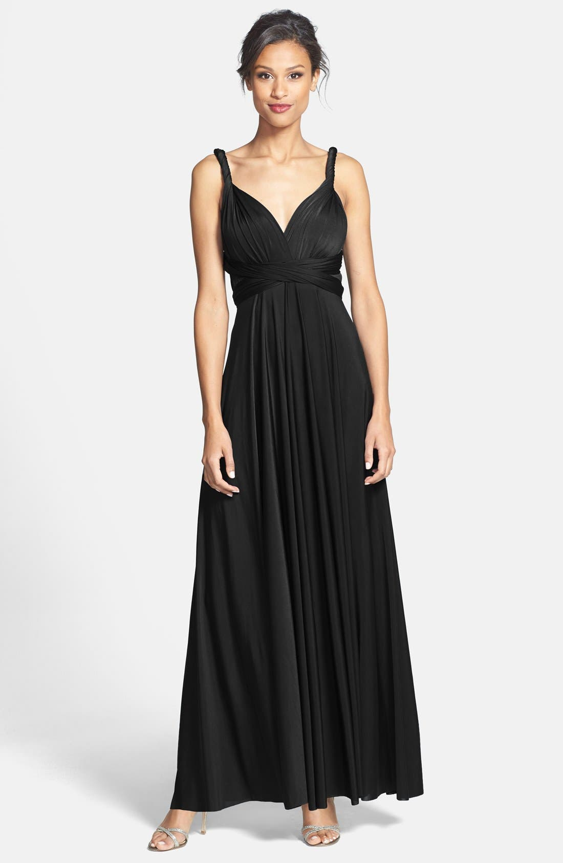 Dessy Collection Convertible Wrap Tie Surplice Jersey Gown