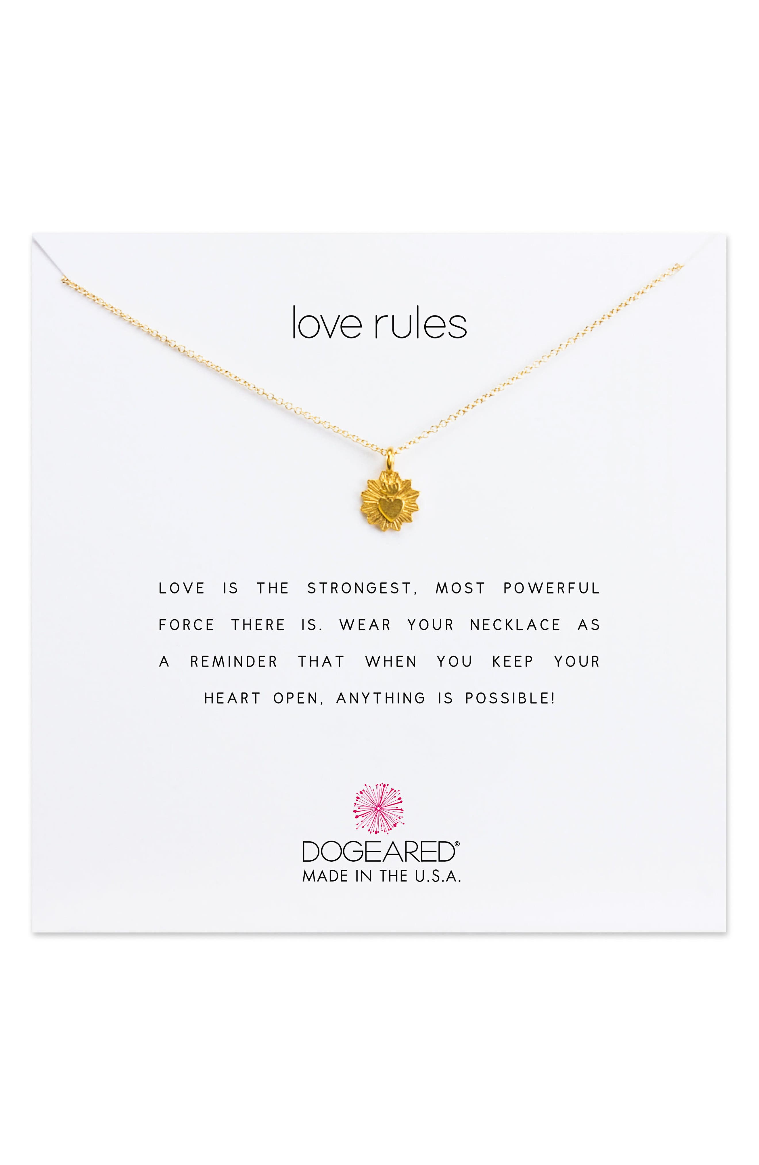 Dogeared Love Rules Pendant Necklace
