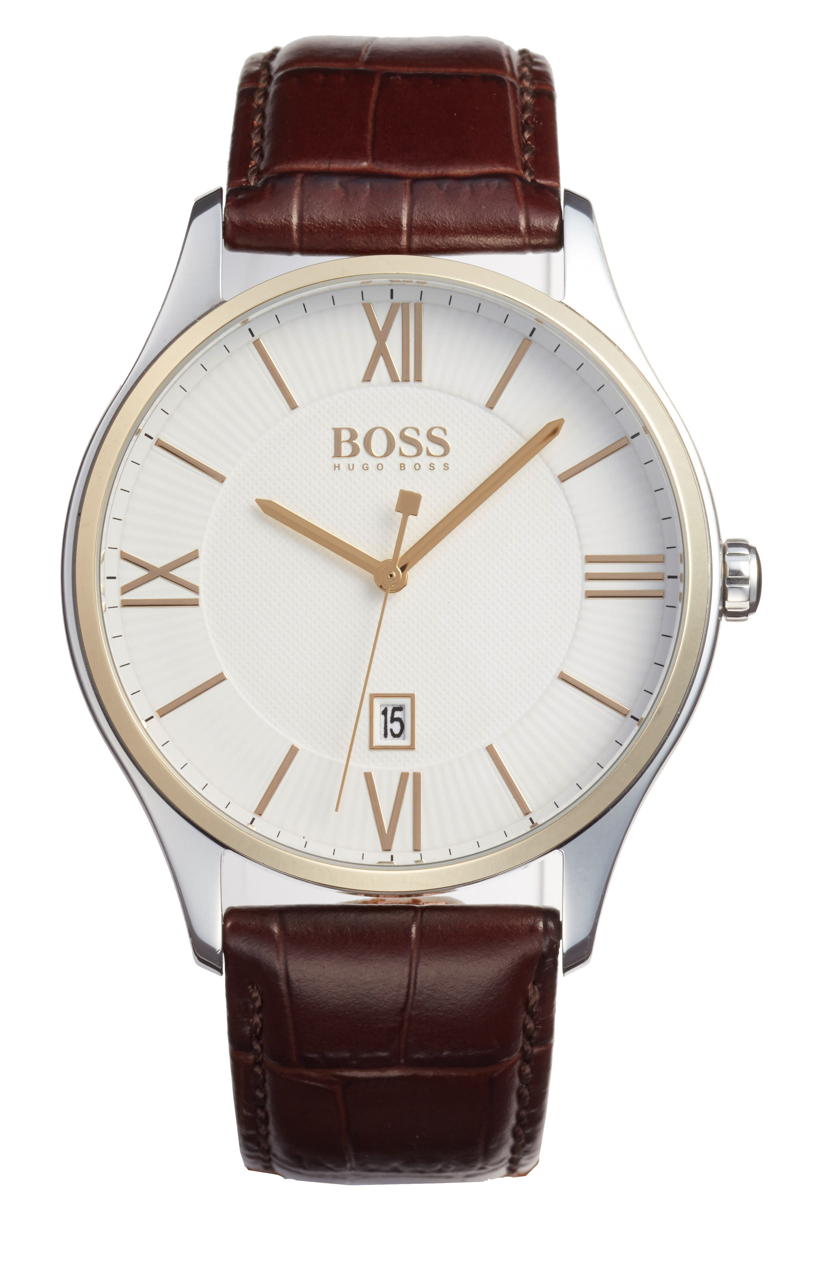 Governor Croc Embossed Leather Strap Watch, 44mm,                         Main,                         color, White/ Brown