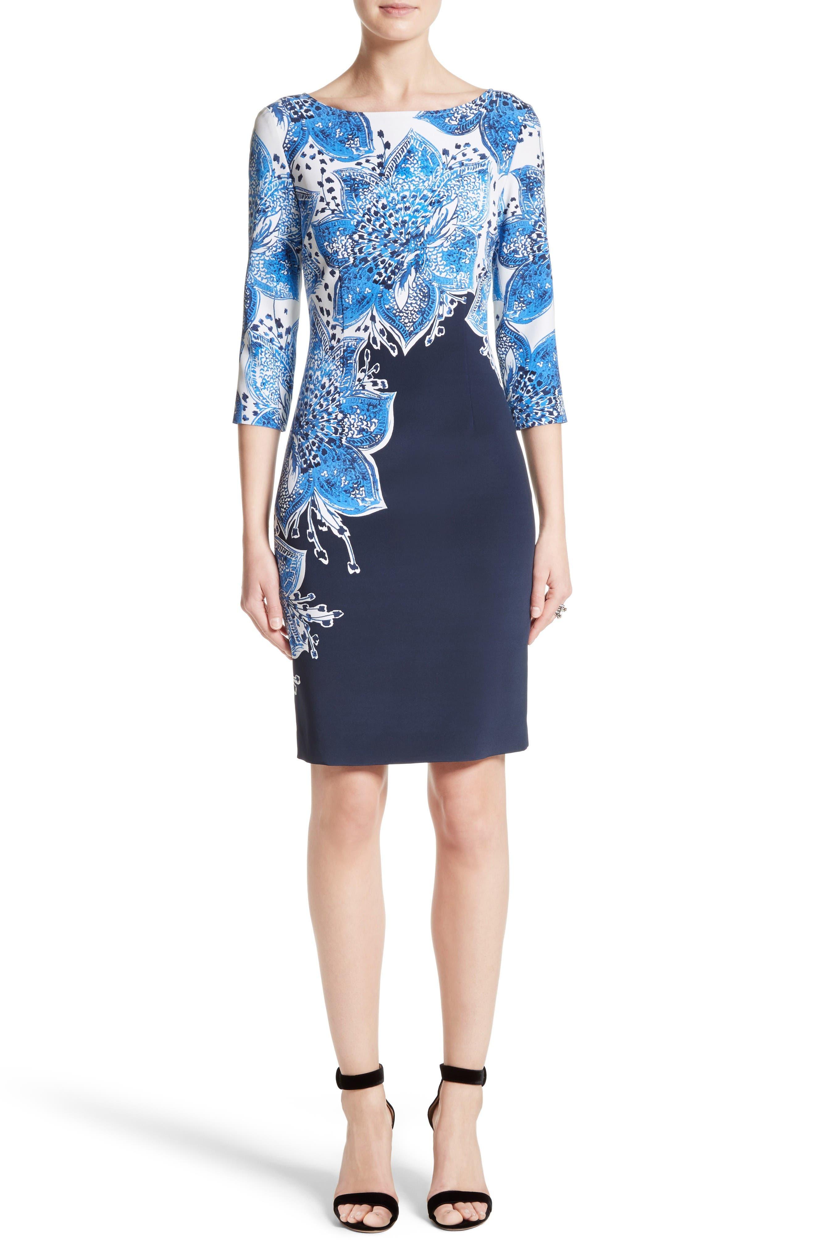 ST. JOHN COLLECTION Lotus Blossom Print Stretch Silk Dress