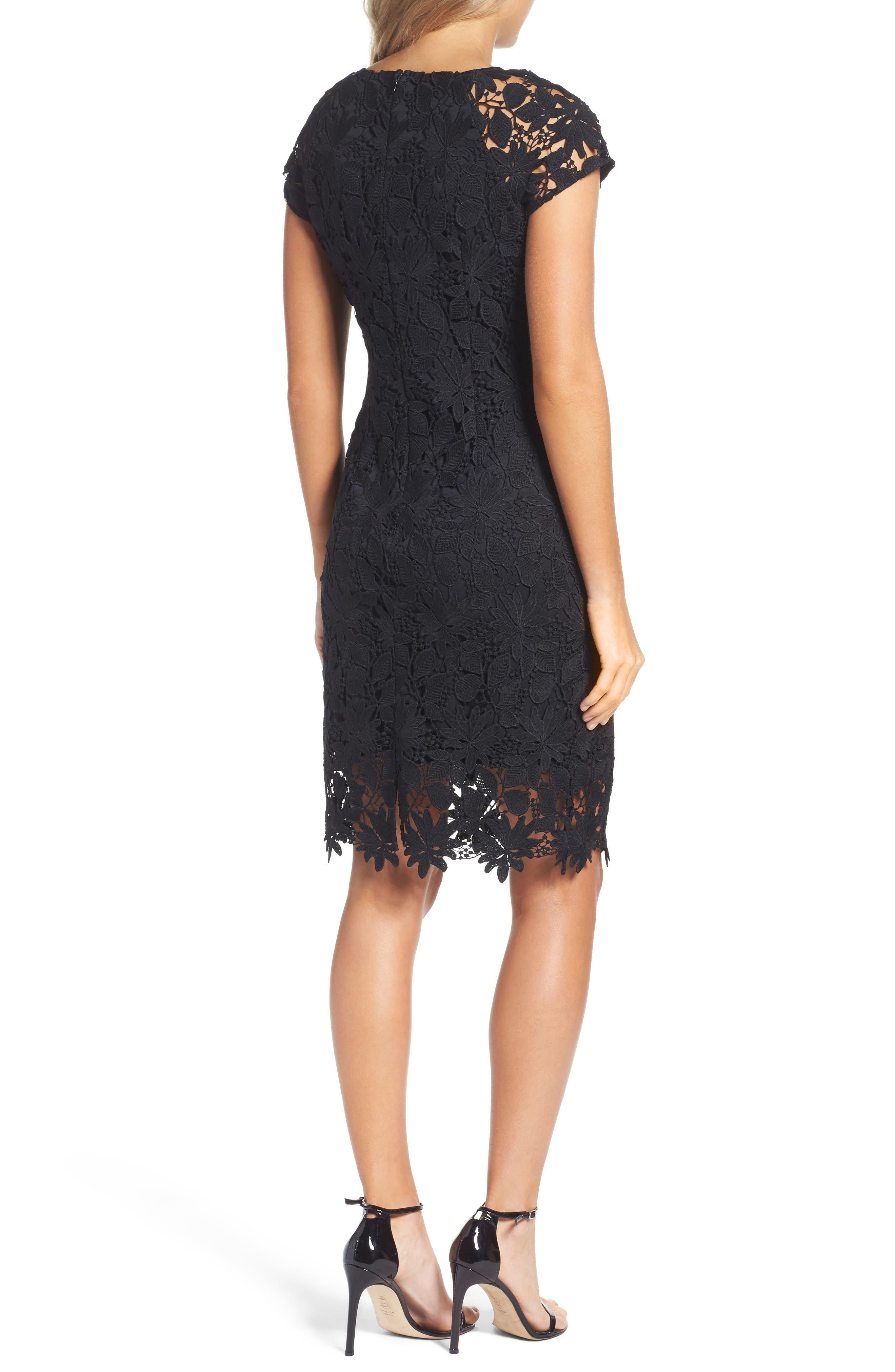 Lace Dress,                             Alternate thumbnail 2, color,                             Black