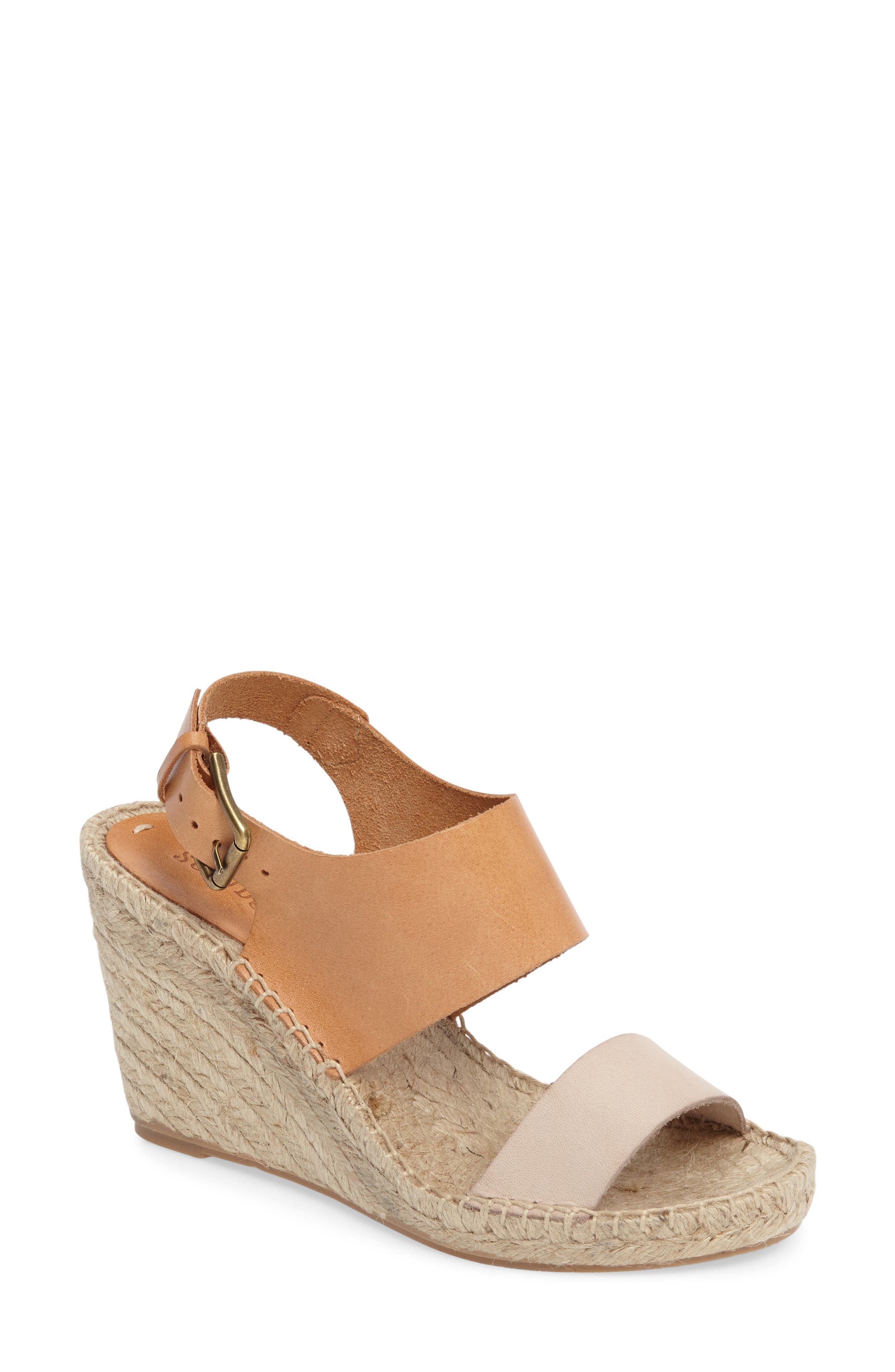 Espadrille Wedge Sandal,                         Main,                         color, Nude/ Ivory Leather