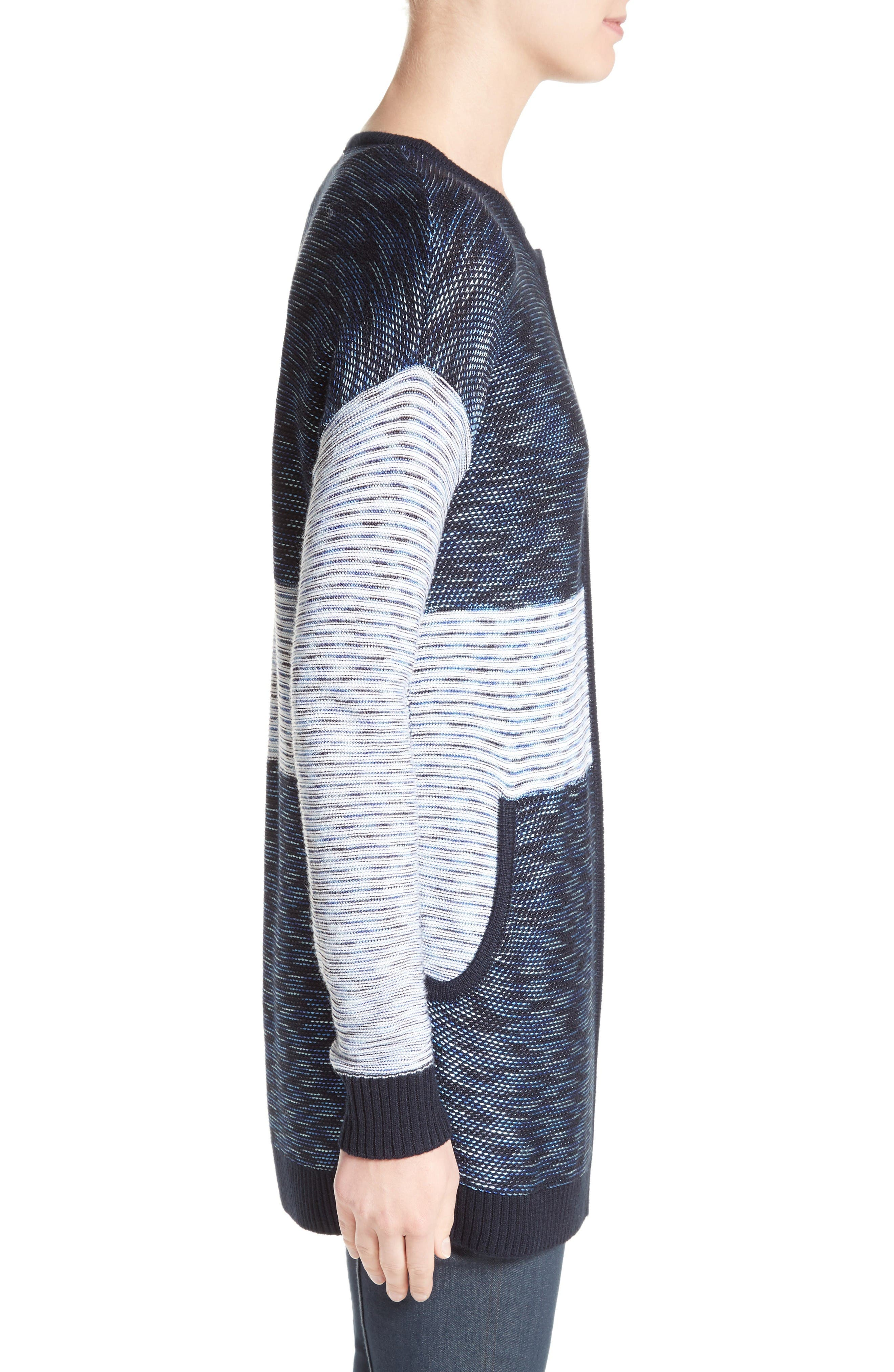 Chambray Effect Links Knit Cardigan,                             Alternate thumbnail 3, color,                             Bianco/ Navy Multi