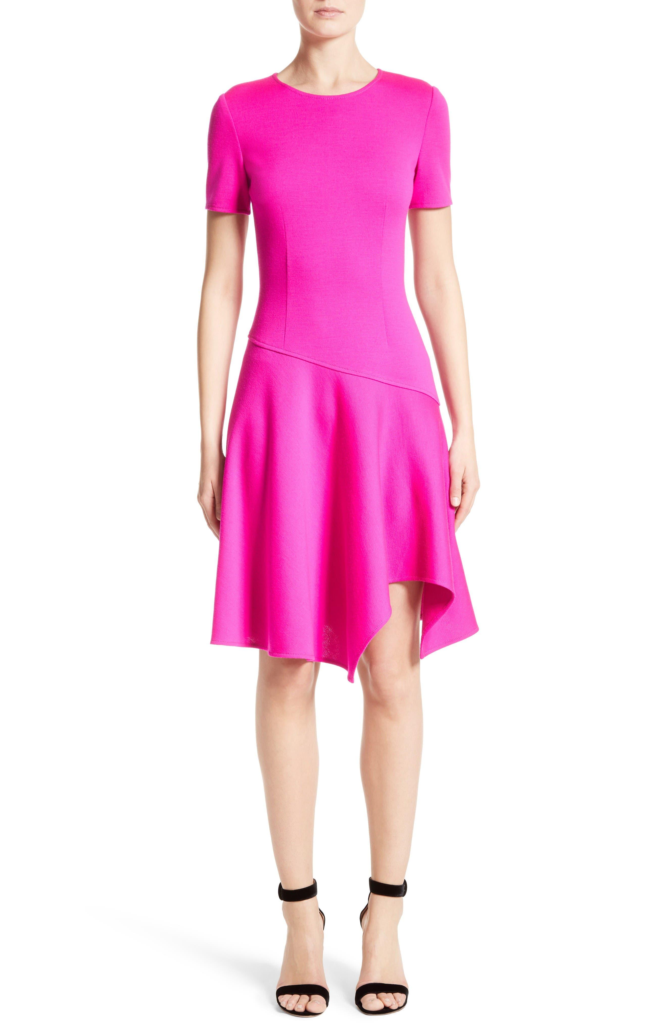 Milano Knit Asymmetrical Dress,                         Main,                         color, Zinnia