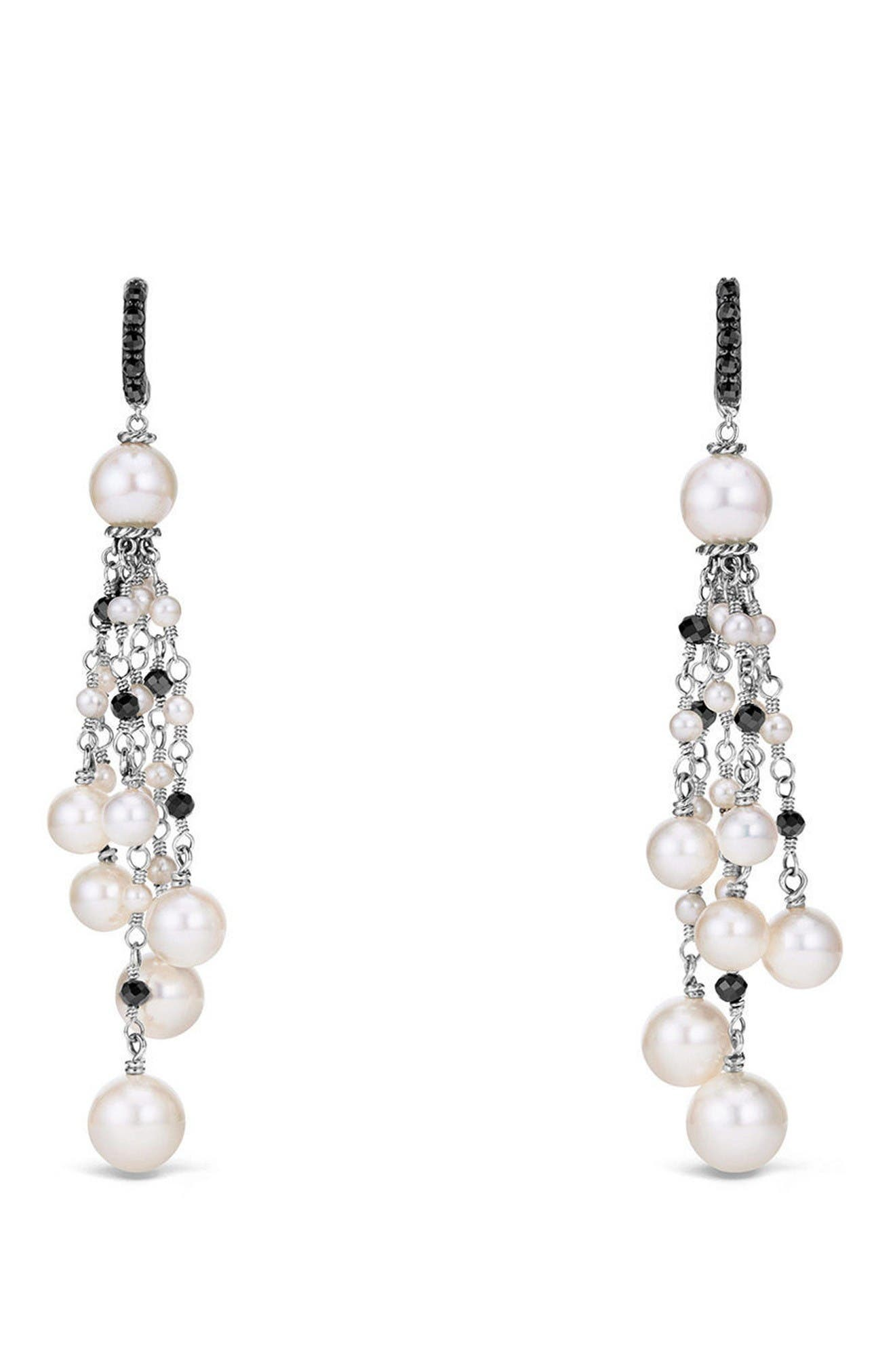 Solari Pearl Fringe Earrings,                         Main,                         color, Pearl/ Black Spinel