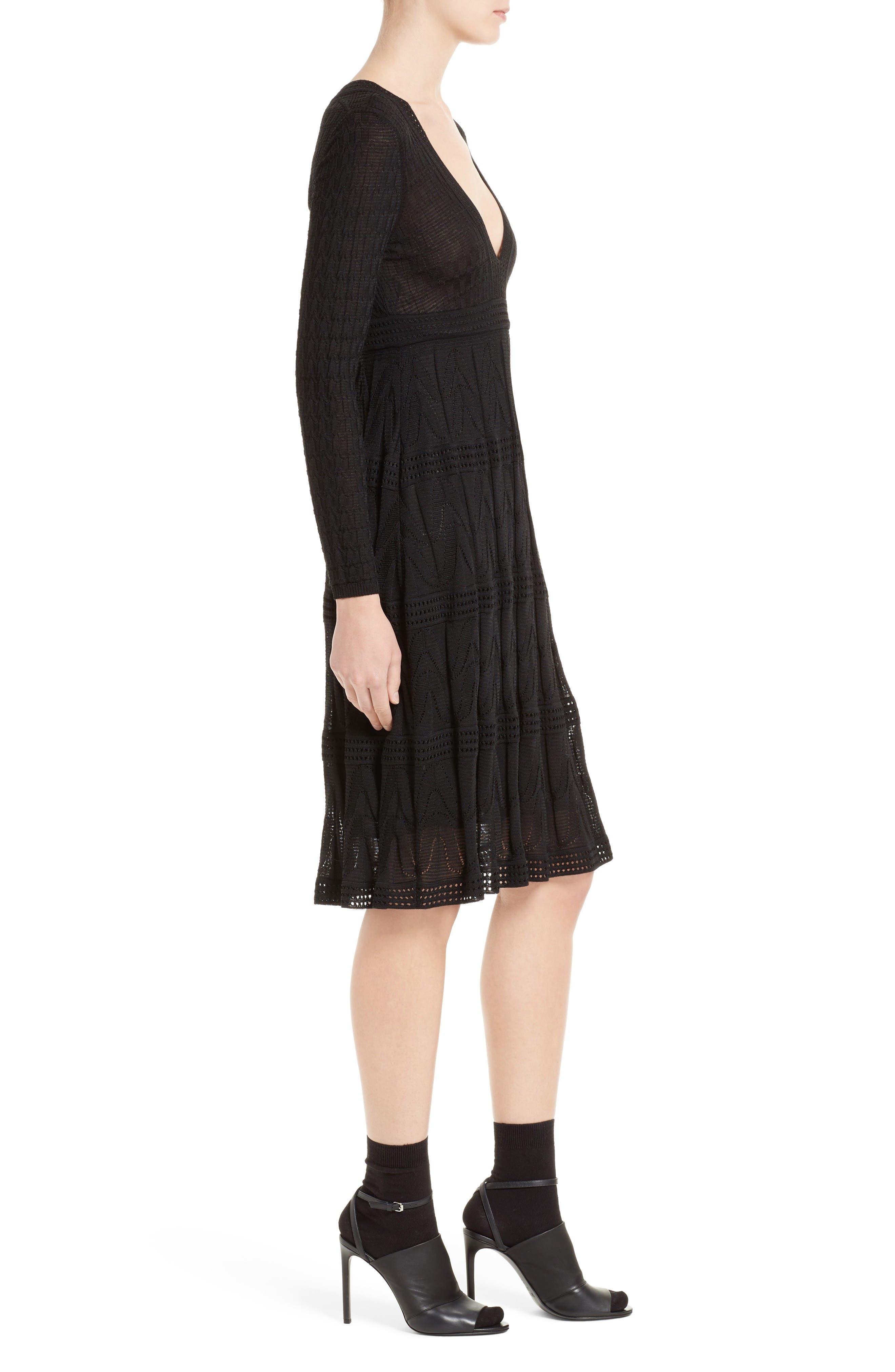 Wool Blend Empire Waist Dress,                             Alternate thumbnail 3, color,                             Black