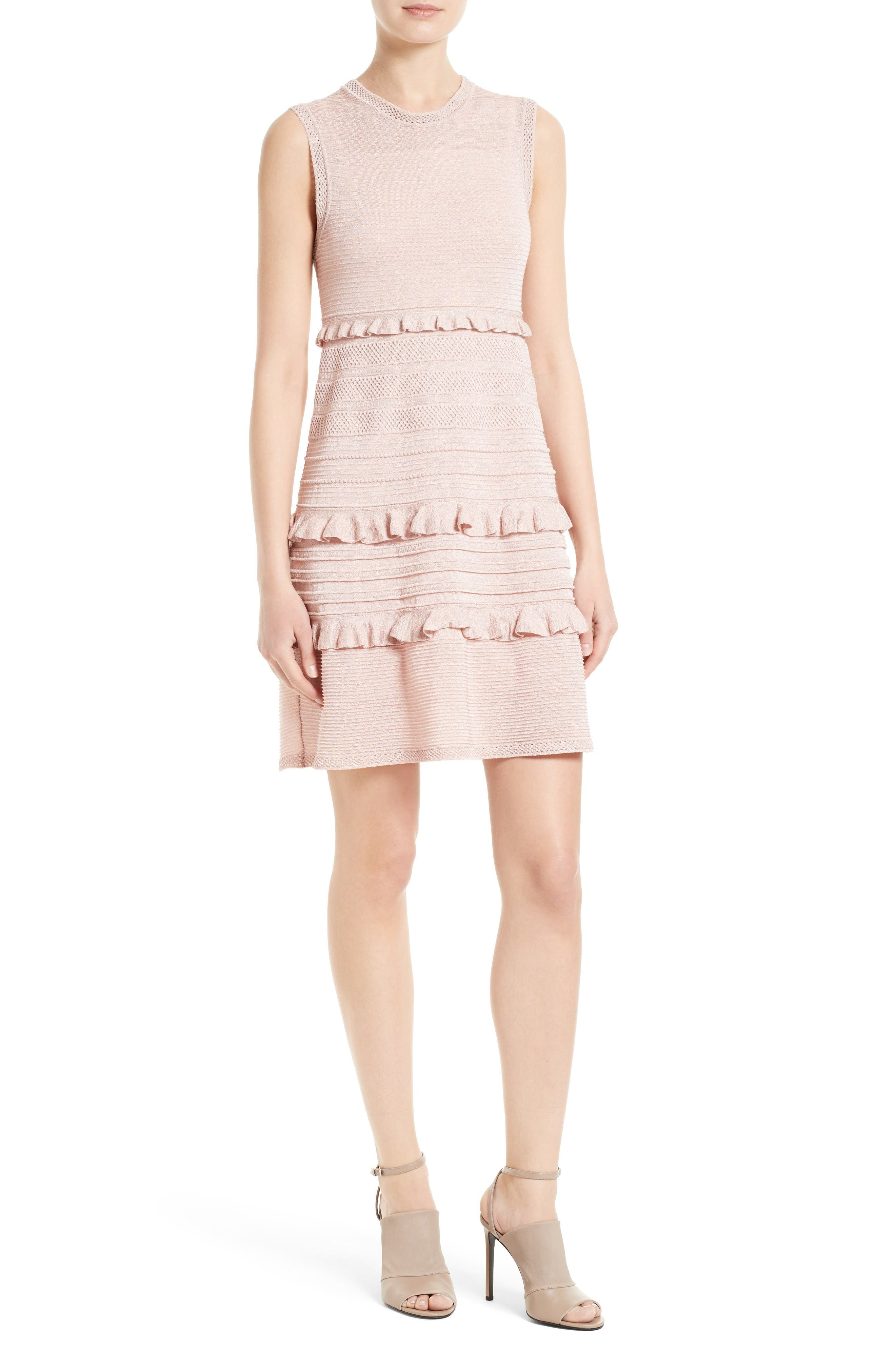 Ruffle Metallic Mouline Knit Dress,                         Main,                         color, Blush