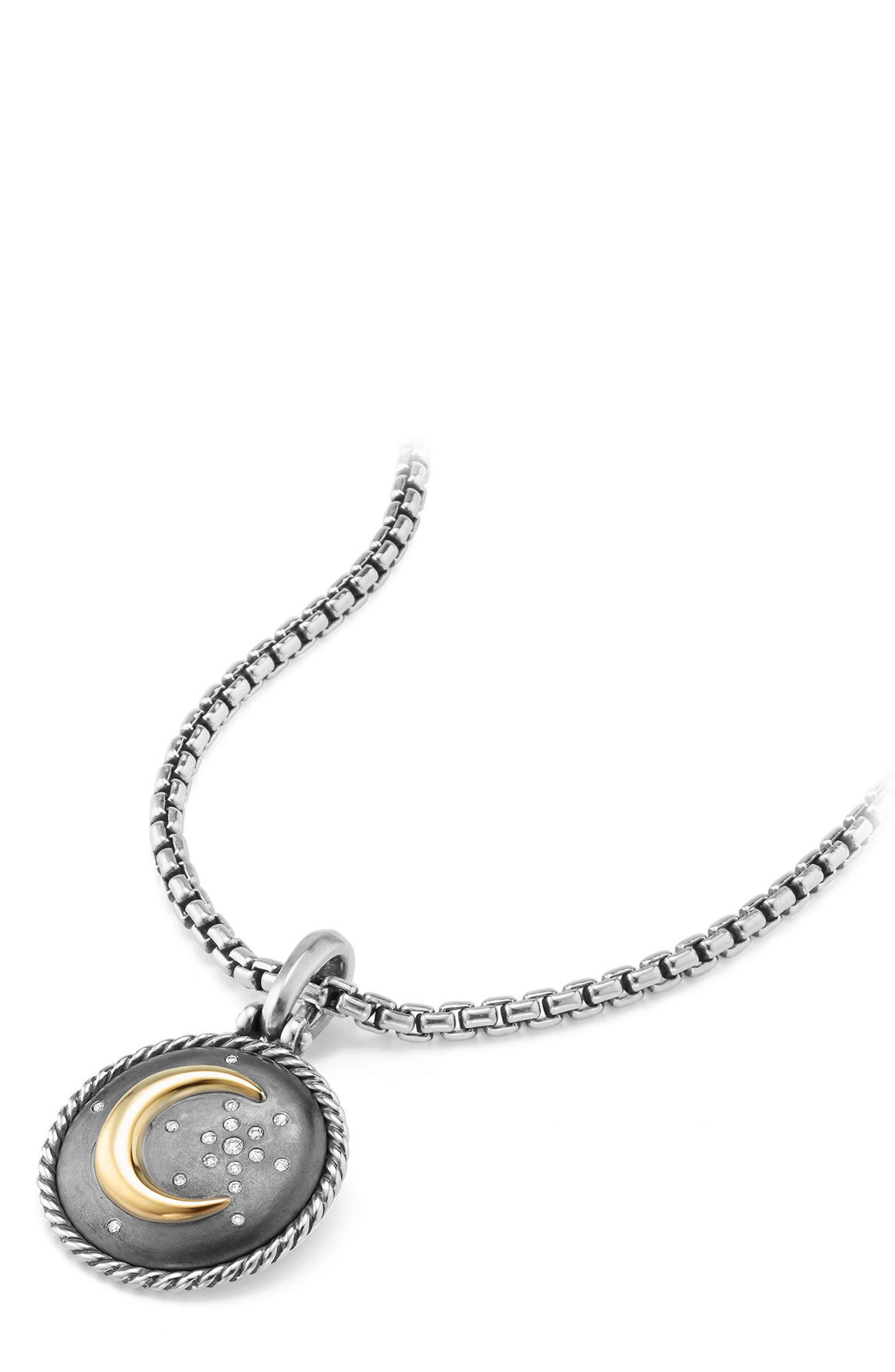 Moon & Star Amulet with Diamonds & 18K Gold,                             Alternate thumbnail 3, color,                             Silver/ Diamond