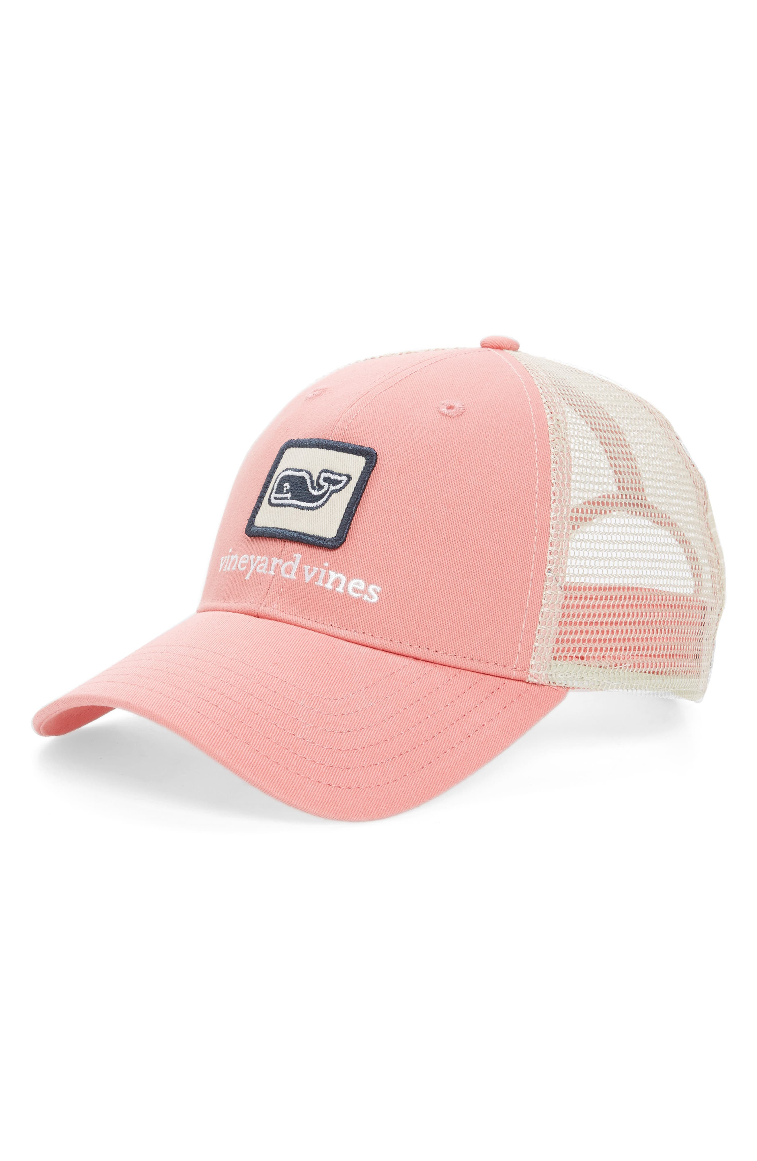 Whale Patch Trucker Hat,                         Main,                         color, Mai Tai