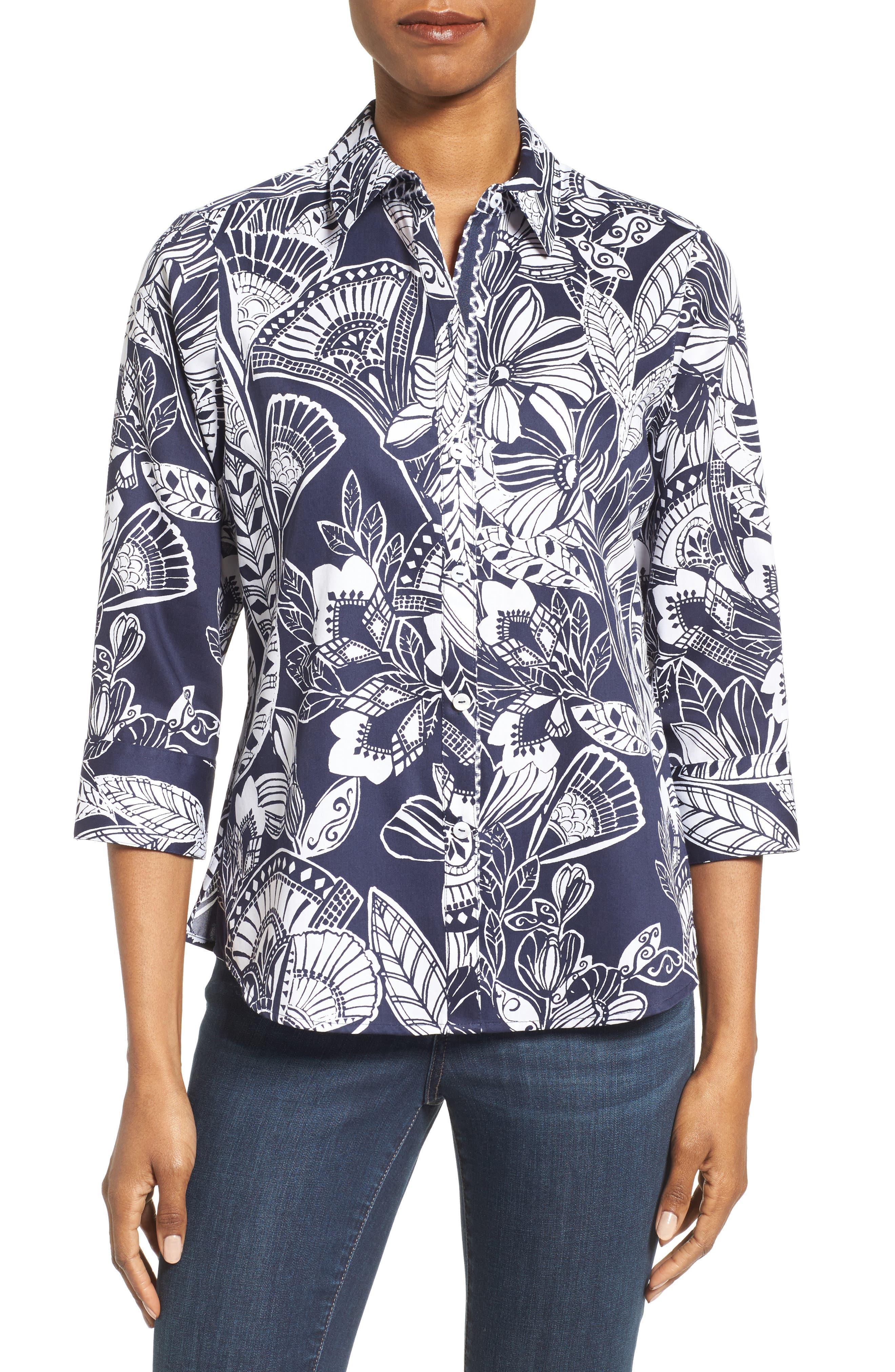 Floral Print Shirt,                         Main,                         color, Navy/ White