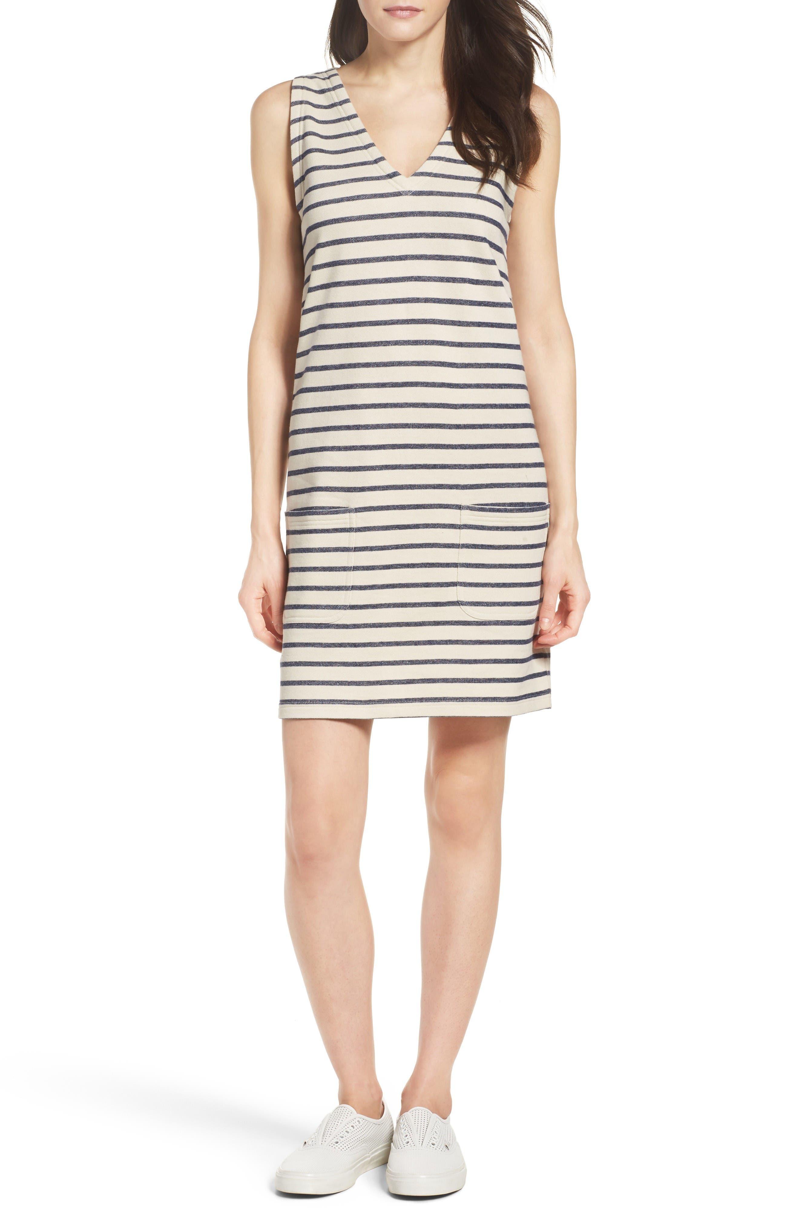 Normandy Stripe Dress,                             Alternate thumbnail 4, color,                             Brule/ Indigo