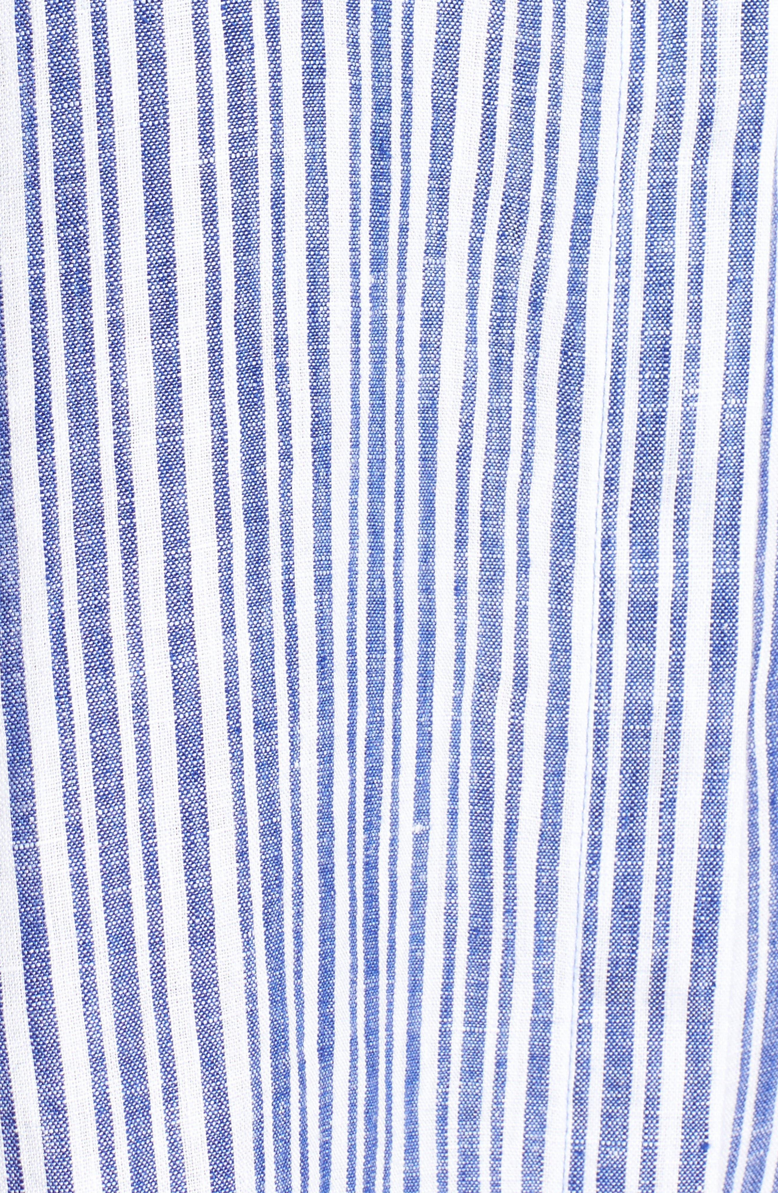 Stripe Linen Tunic,                             Alternate thumbnail 5, color,                             Blue Lagoon