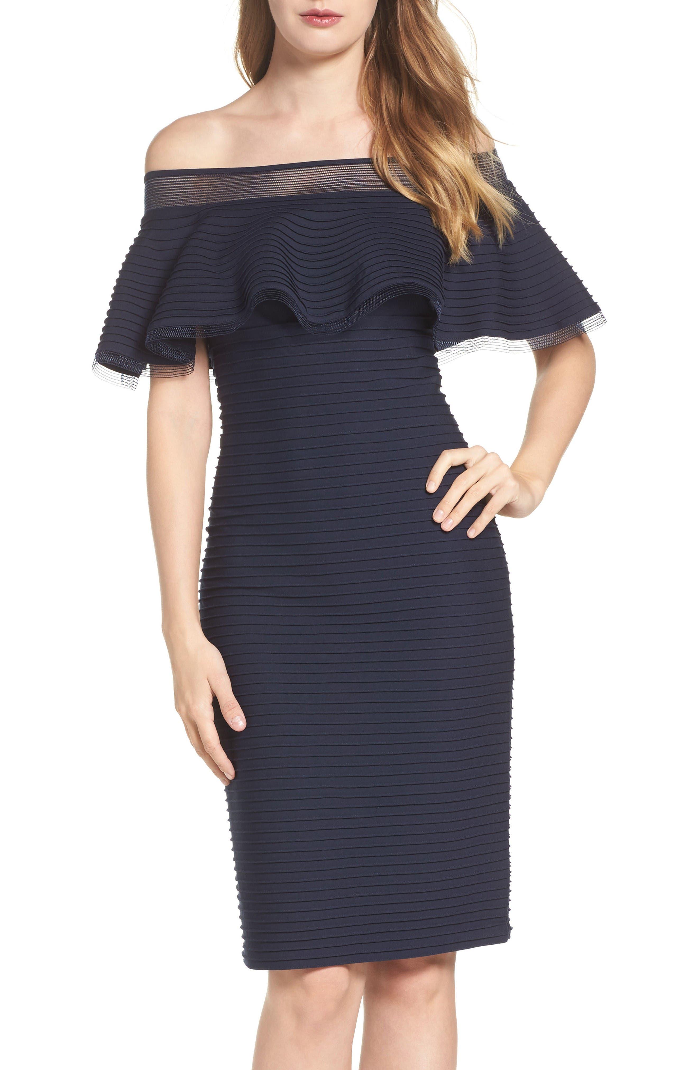 Jersey Sheath Dress,                         Main,                         color, Navy