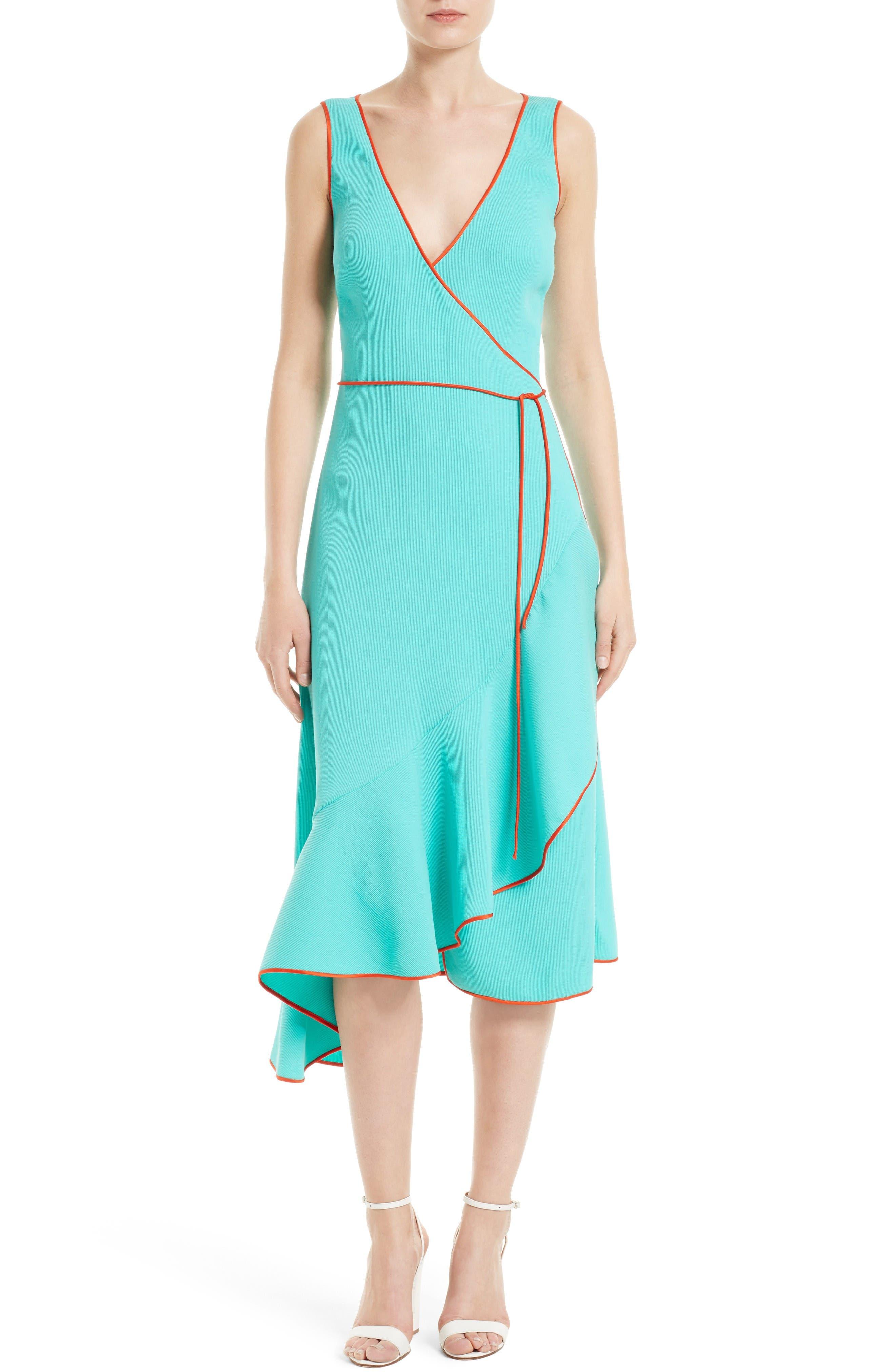 Asymmetrical Ruffle Wrap Midi Dress,                         Main,                         color, Bright Aqua/ Bold Red