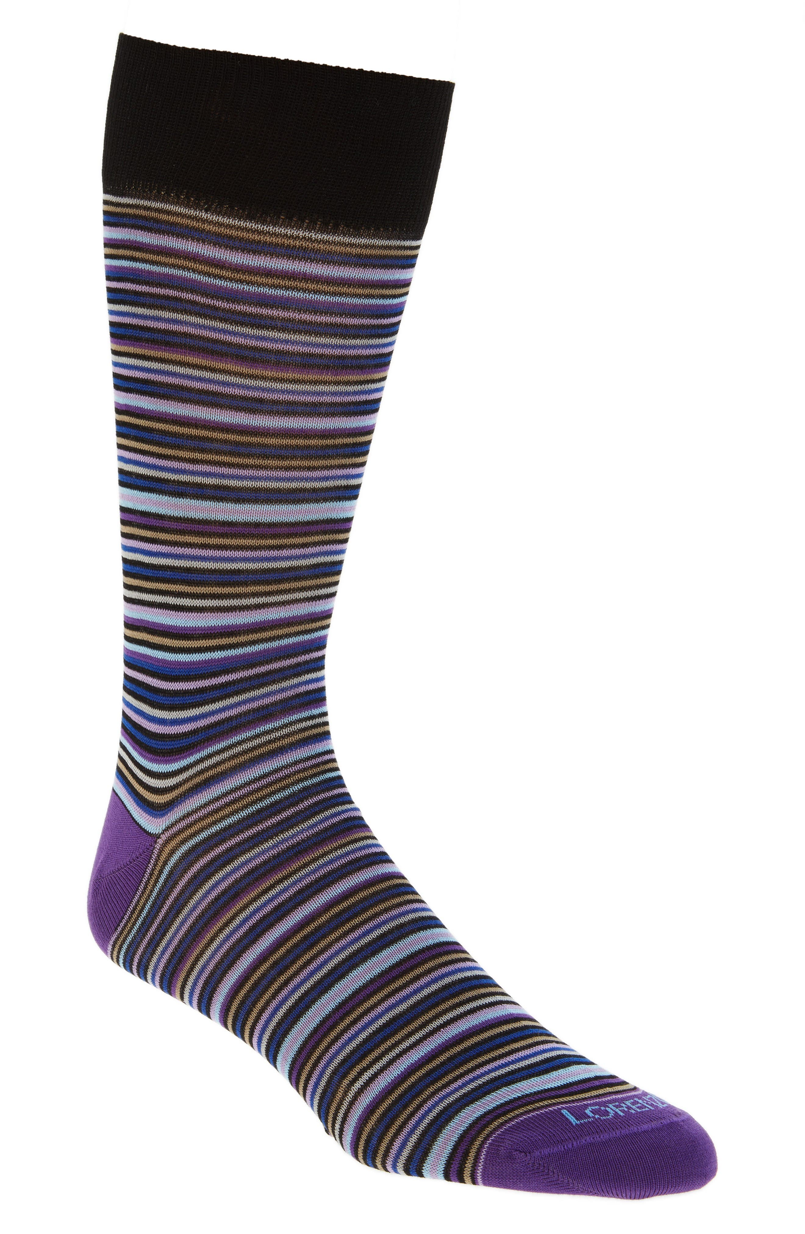 Lorenzo Uomo Multistripe Crew Socks (3 for $30)