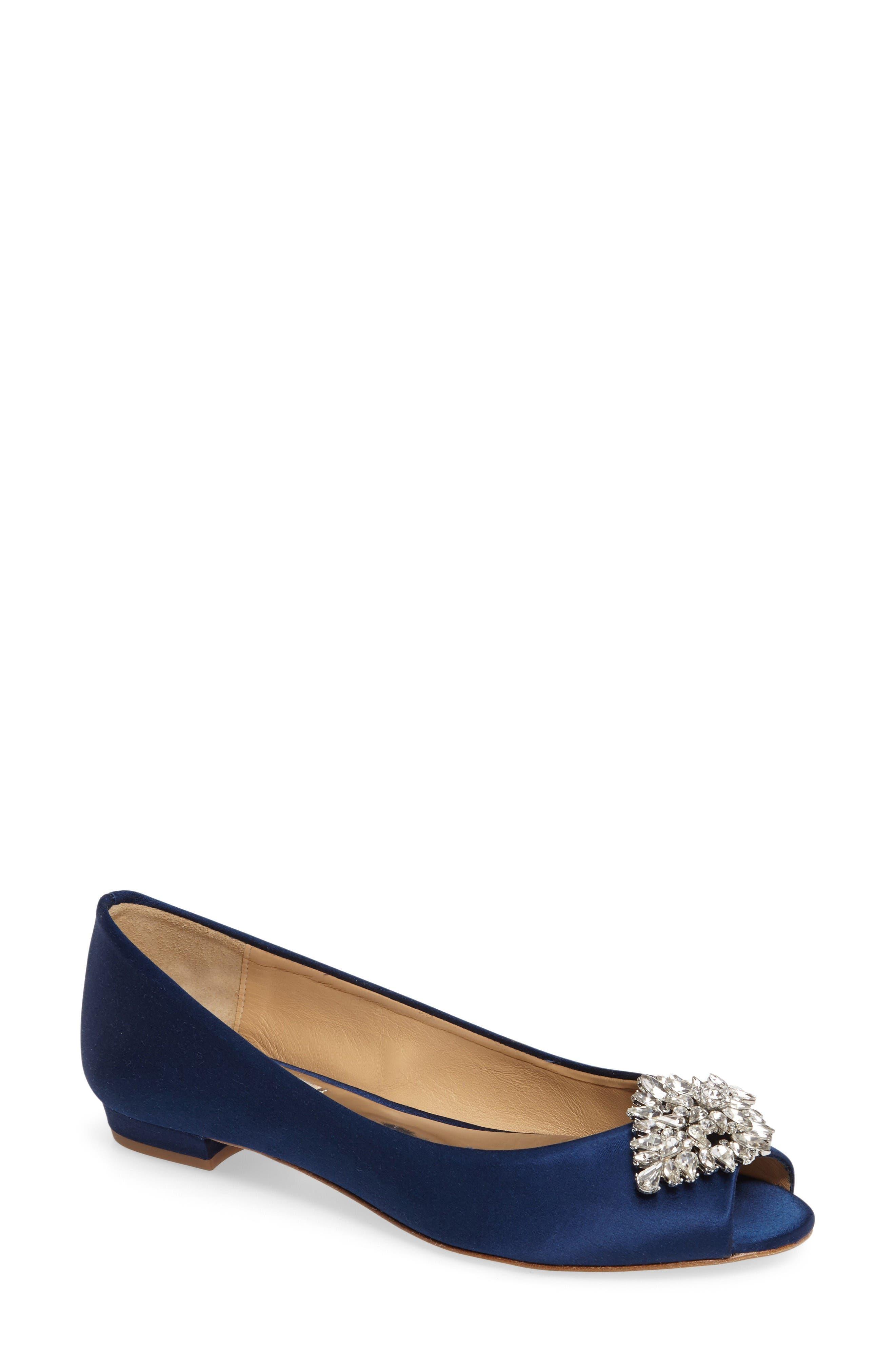 Badgley Mischka Taft Peep Toe Flat (Women)
