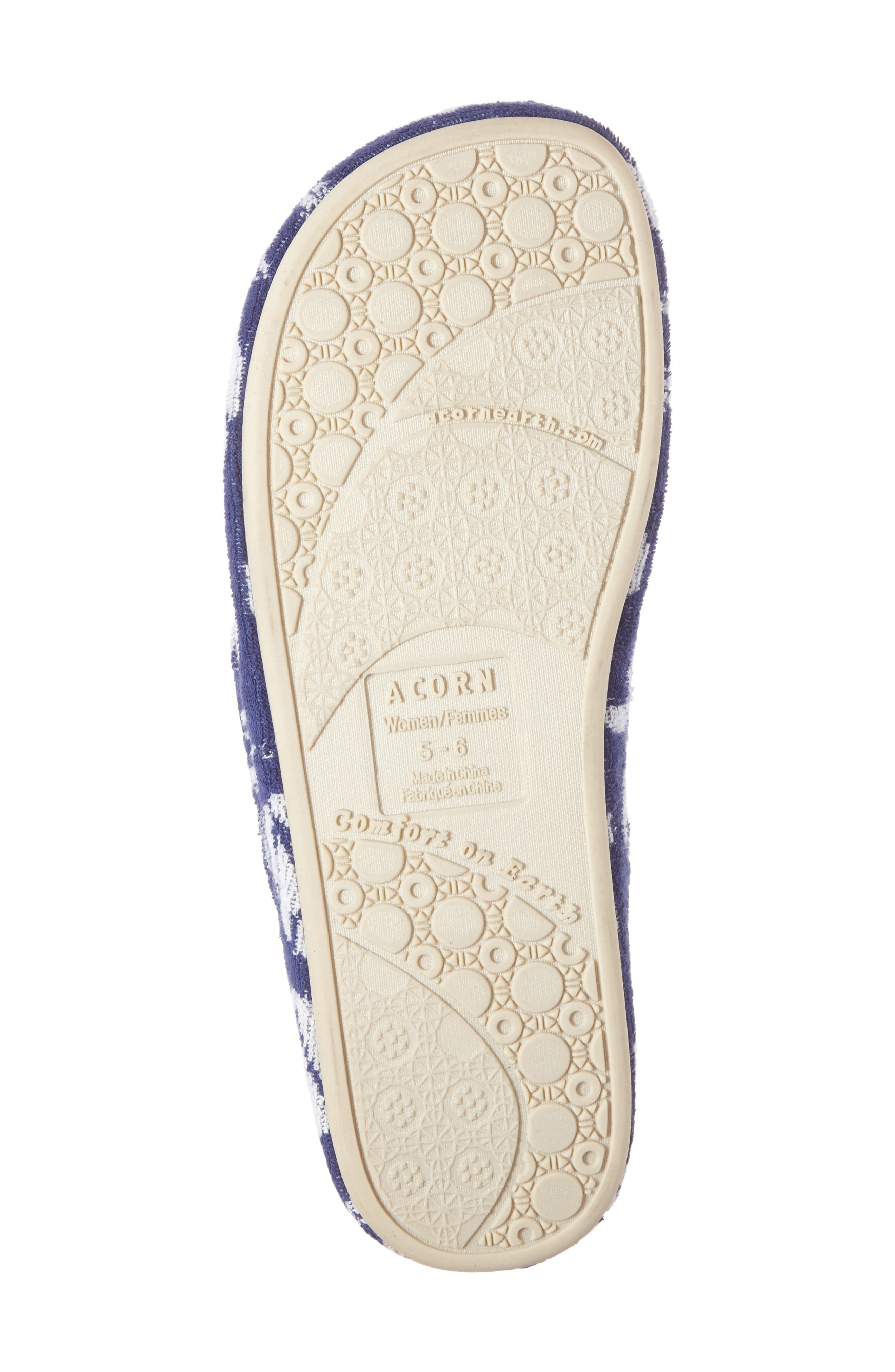 Summerweight Spa Slipper,                             Alternate thumbnail 4, color,                             Navy Leaf Fabric