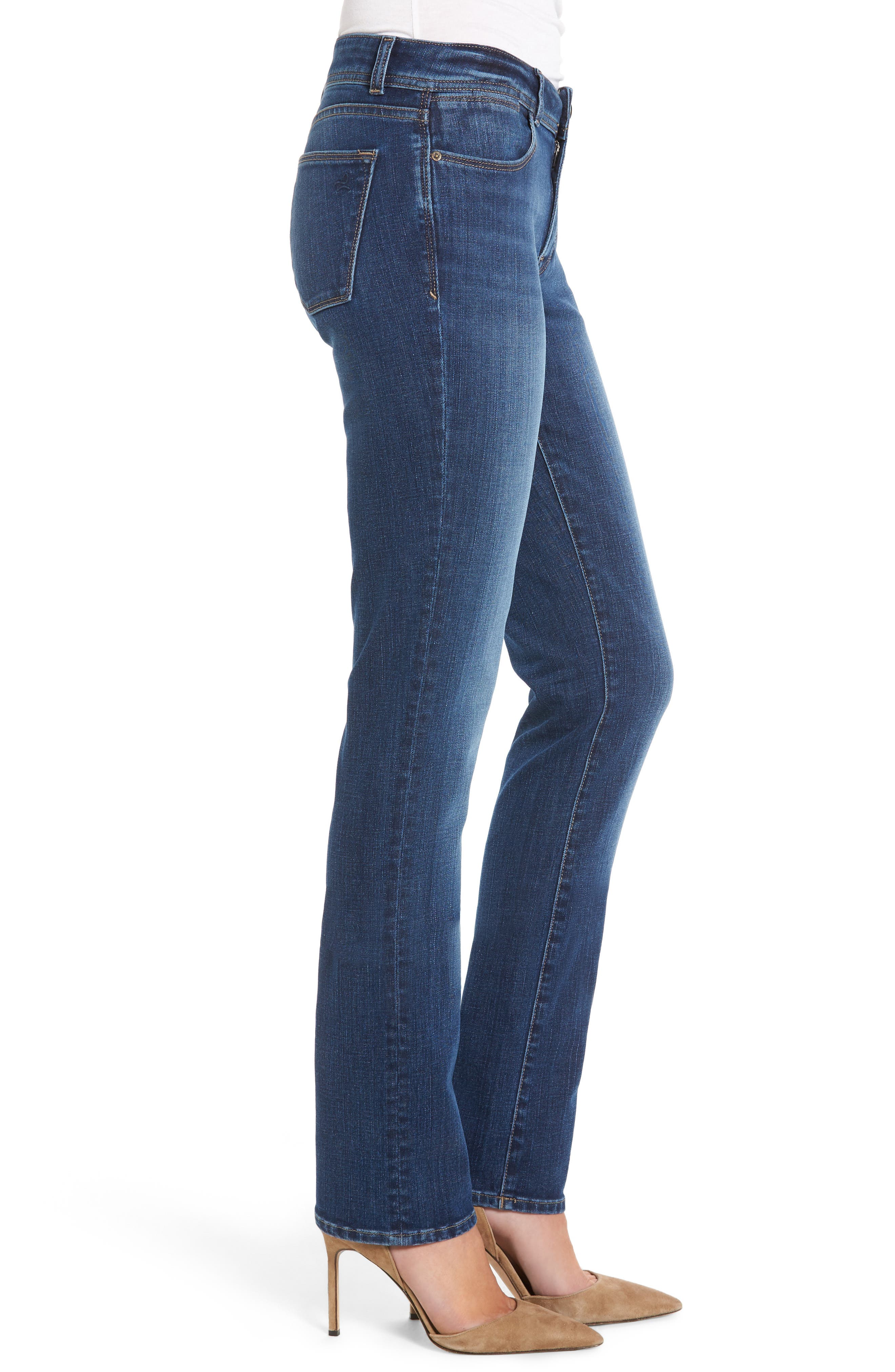 Coco Curvy Straight Leg Jeans,                             Alternate thumbnail 3, color,                             Pacific