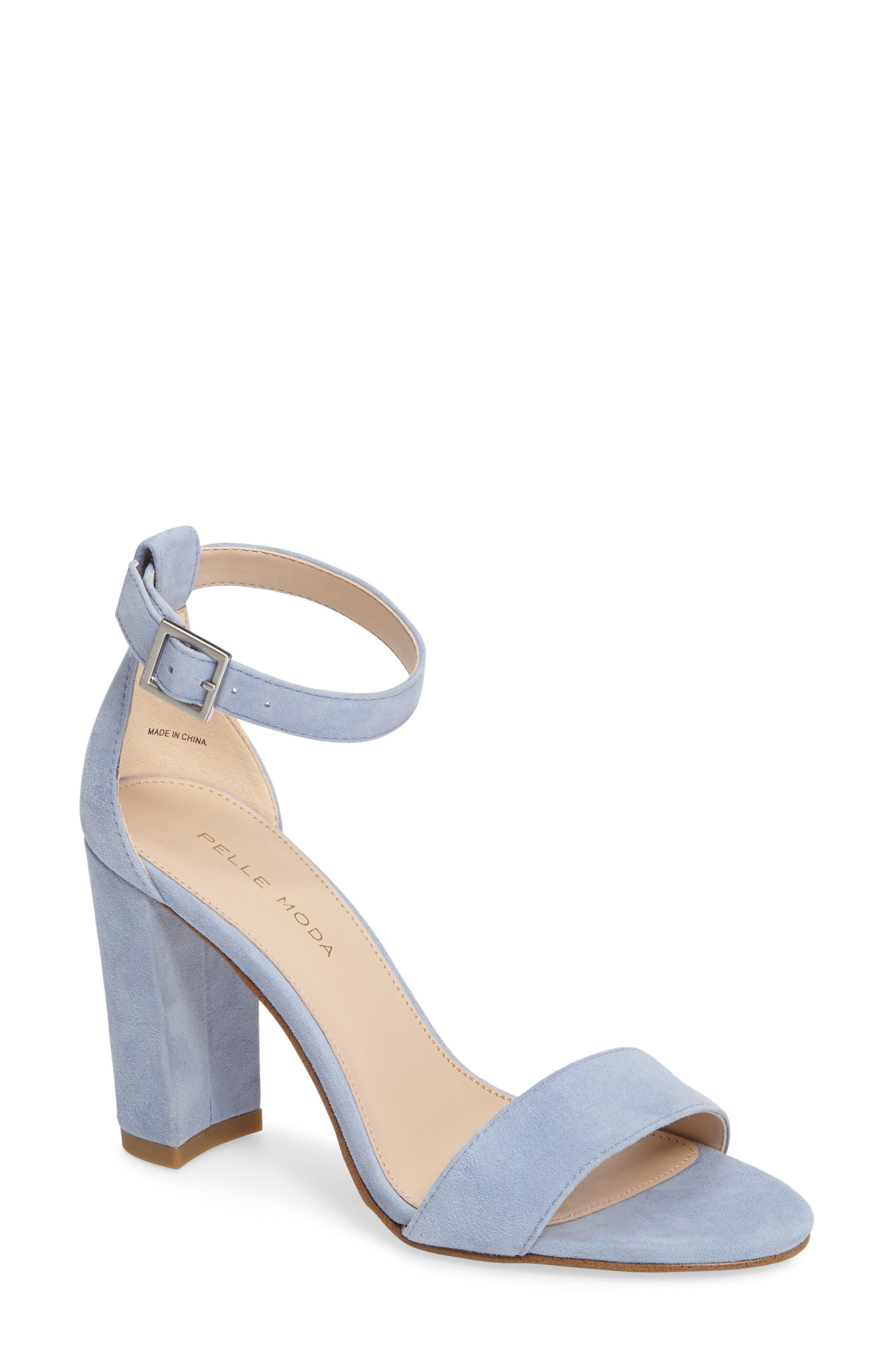 'Bonnie' Ankle Strap Sandal,                             Main thumbnail 1, color,                             Powder Blue Leather
