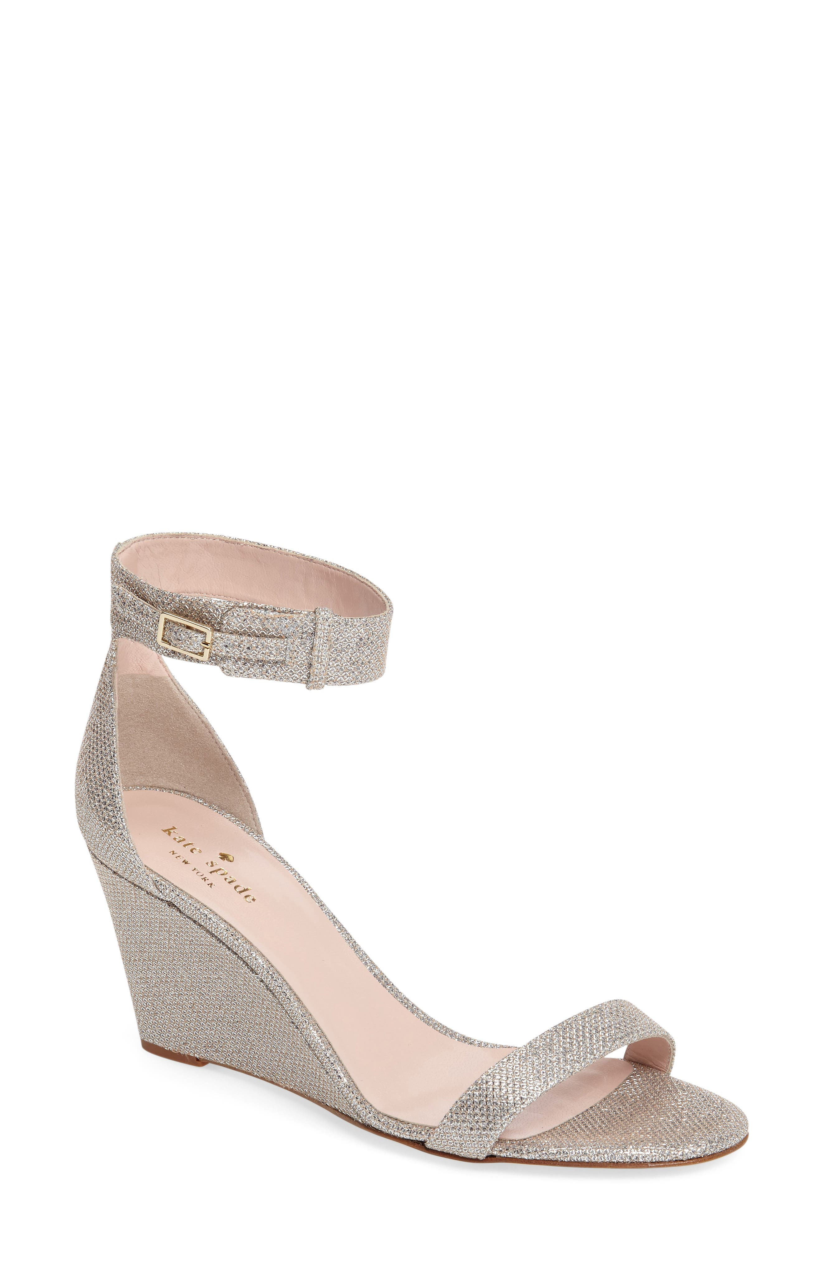 'ronia' wedge sandal,                         Main,                         color, Silver/ Natural