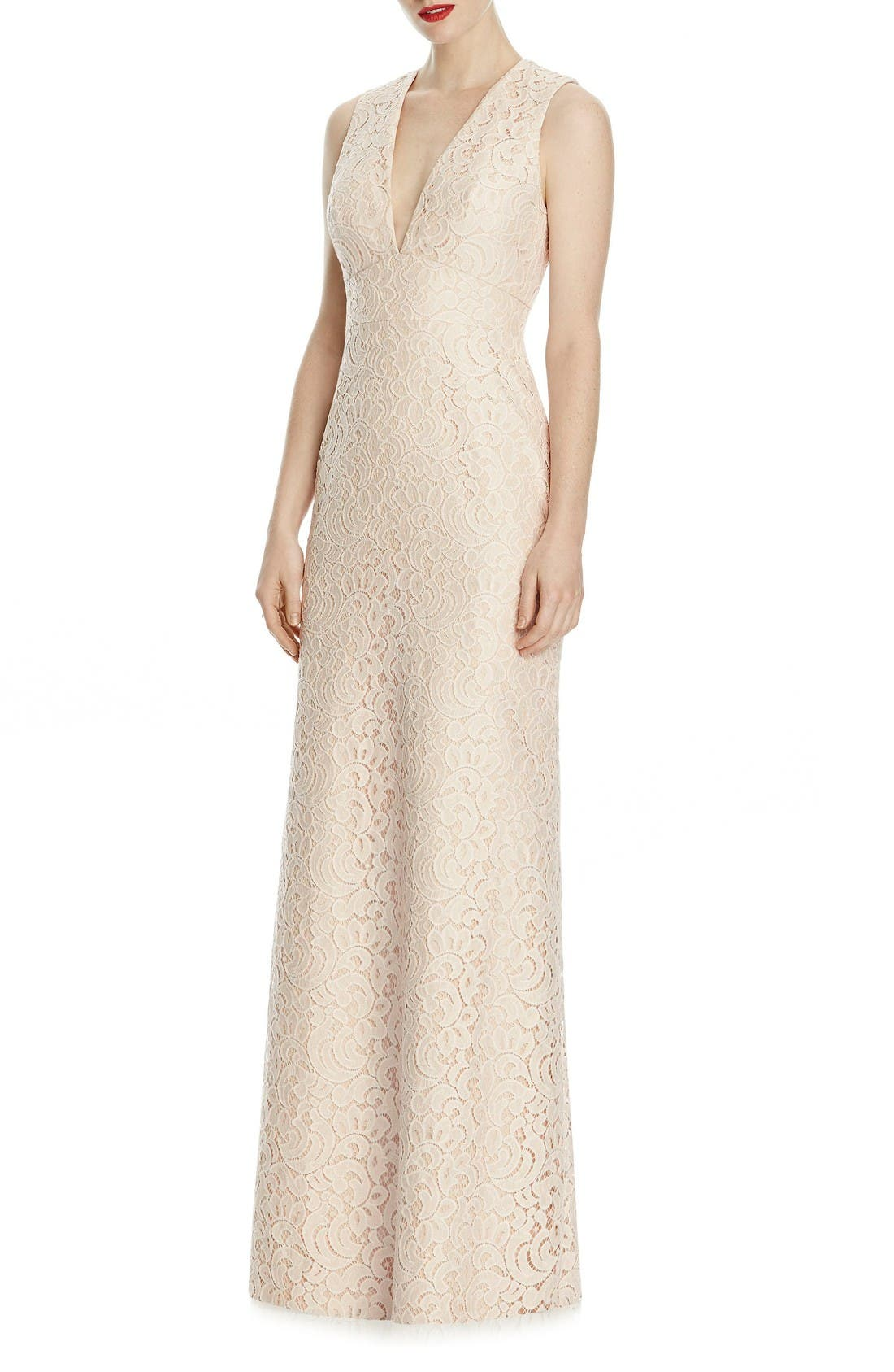 V-Neck Lace A-Line Gown,                         Main,                         color, Blush/ Cameo