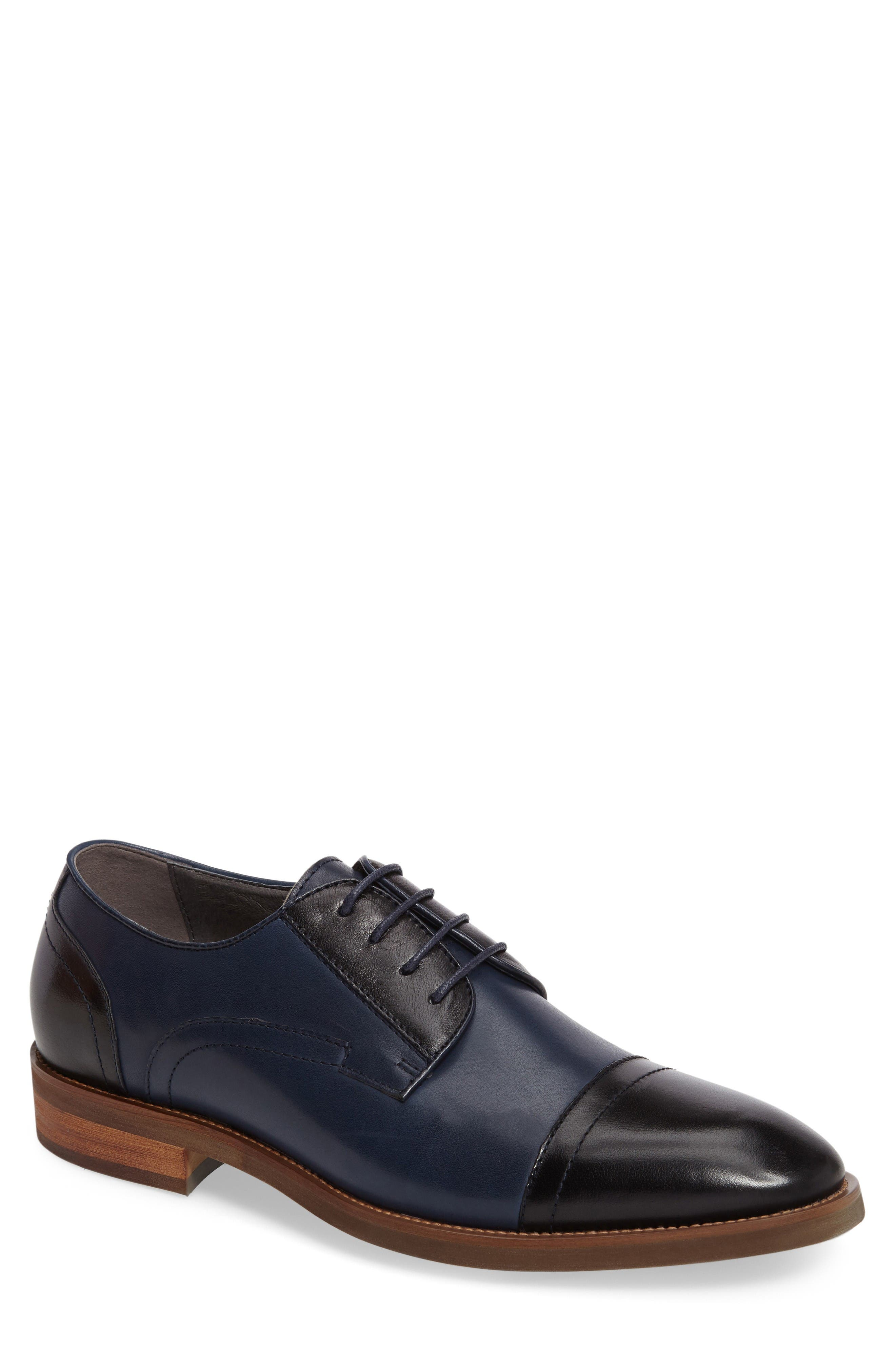 Cap Toe Derby,                         Main,                         color, Navy Leather