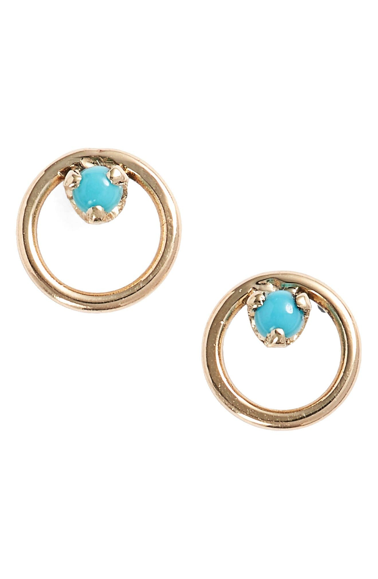 Turquoise Circle Stud Earrings,                             Main thumbnail 1, color,                             Yellow Gold/ Turquoise