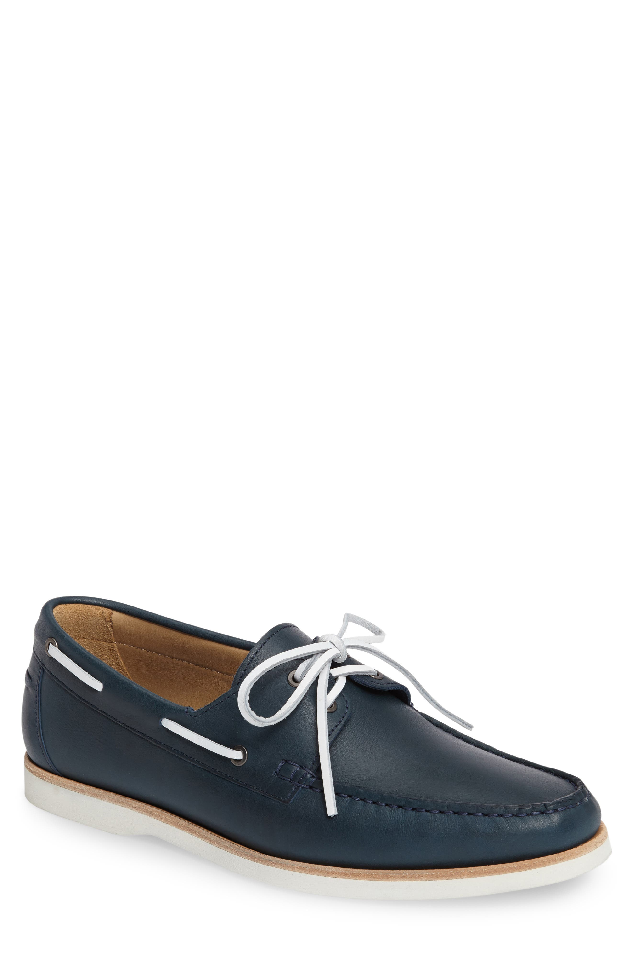 Cooper Boat Shoe,                             Main thumbnail 1, color,                             Navy Leather