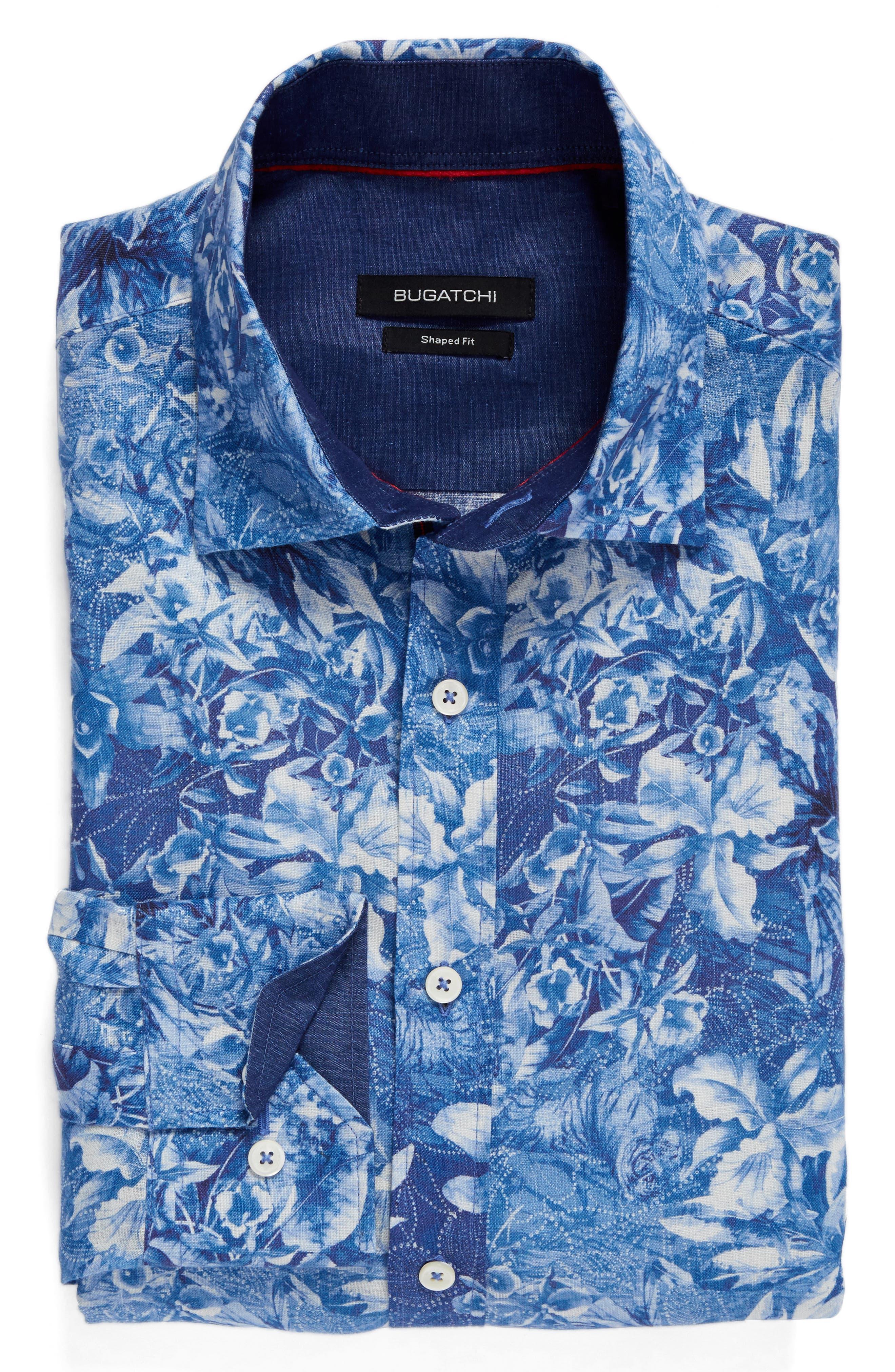 Alternate Image 6  - Bugatchi Shaped Fit Floral Linen Sport Shirt