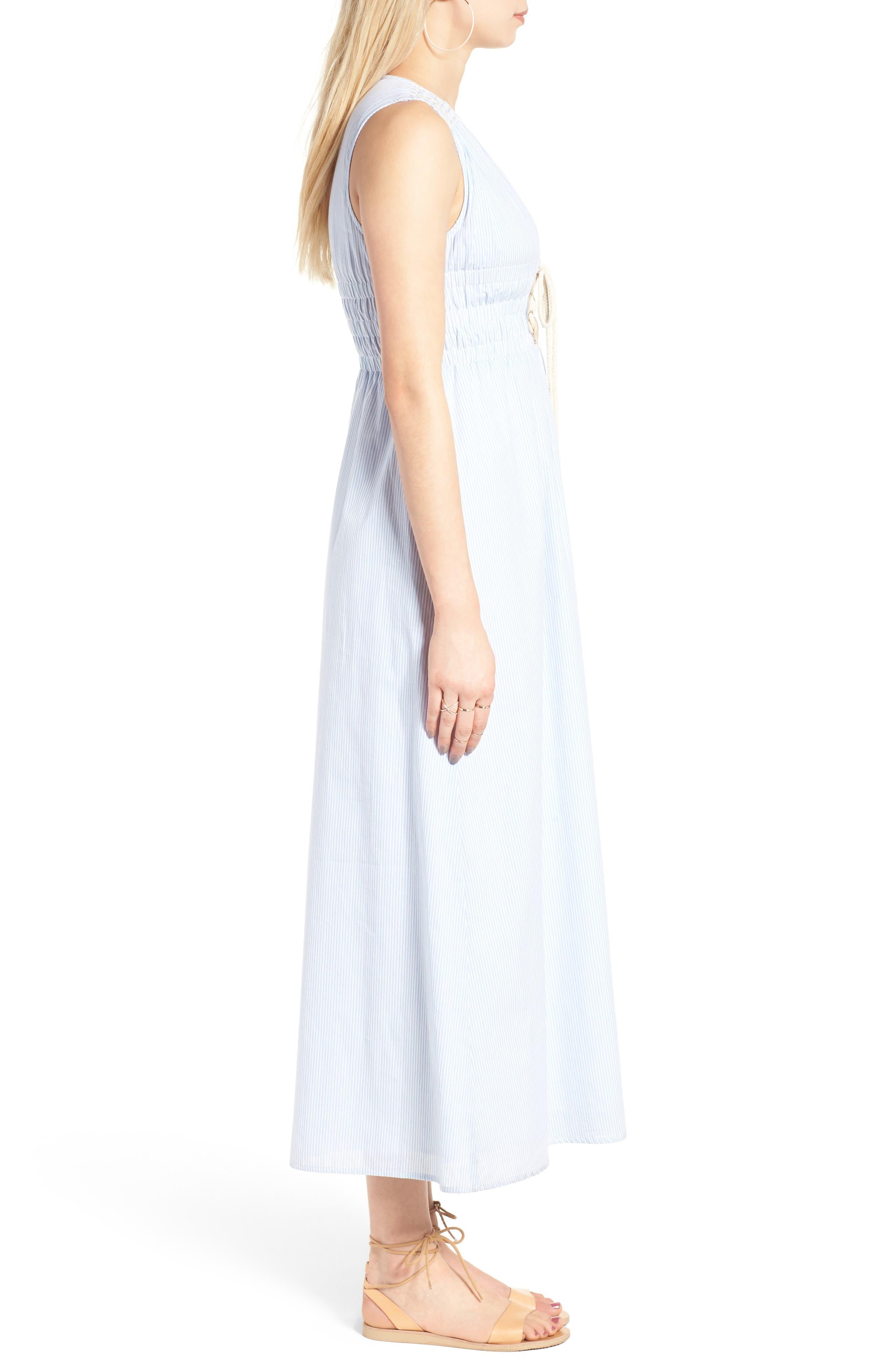 Stripe Lace-Up Maxi Dress,                             Alternate thumbnail 4, color,                             Light Blue