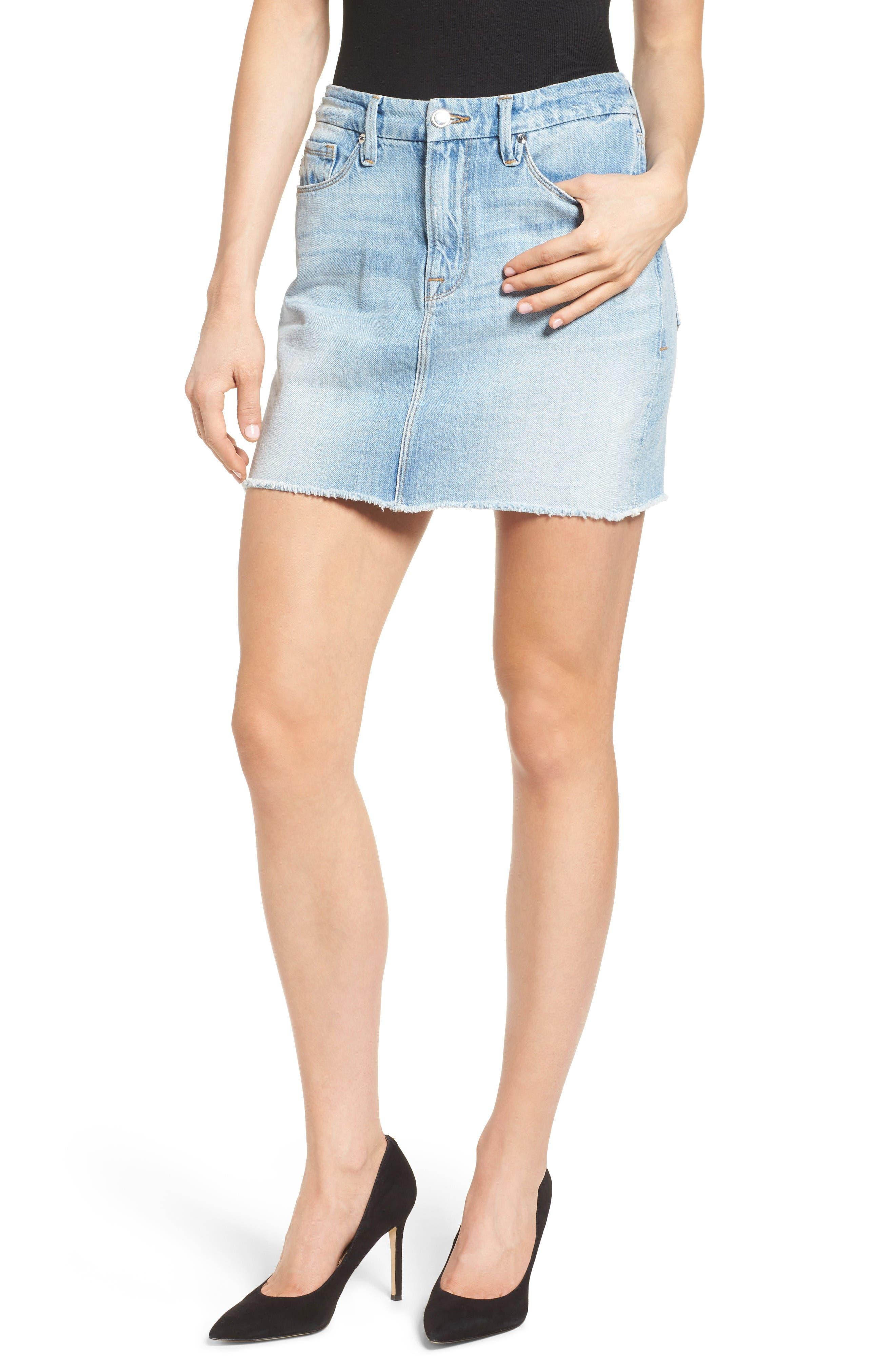 Good American The Mini High Waist Denim Miniskirt (Blue 033) (Extended Sizes)