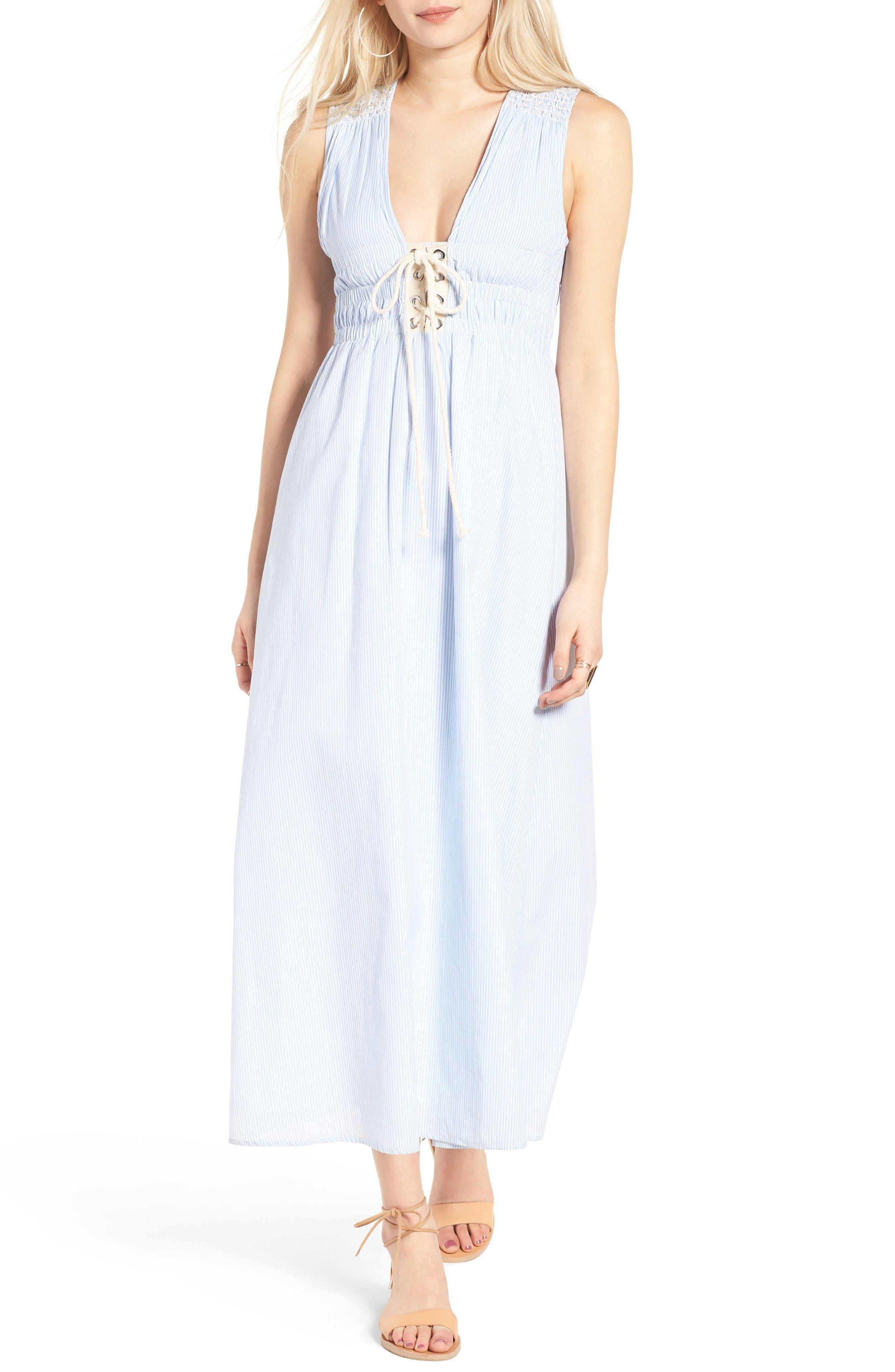 Stripe Lace-Up Maxi Dress,                         Main,                         color, Light Blue