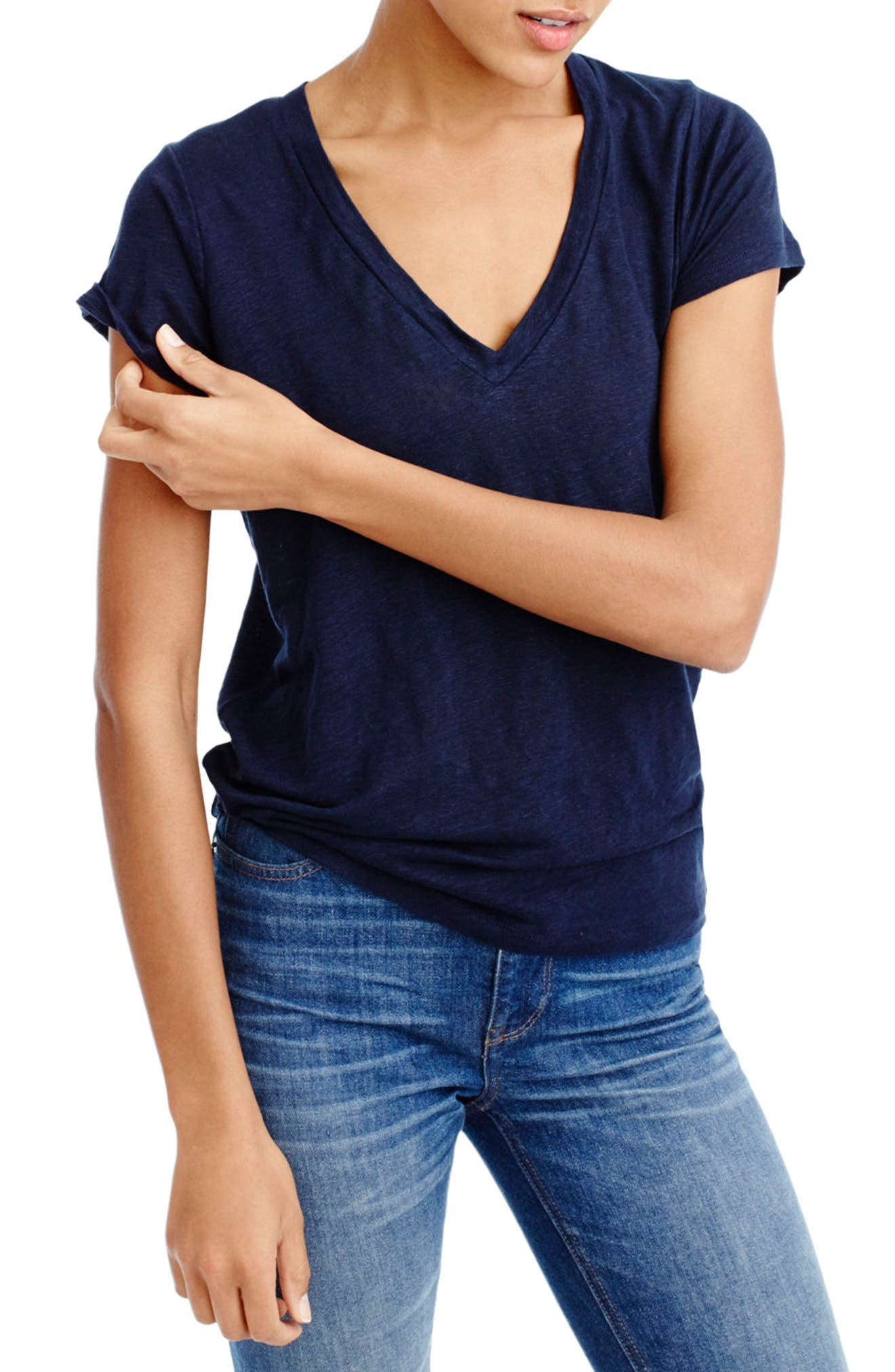 Alternate Image 1 Selected - J.Crew Linen Tee