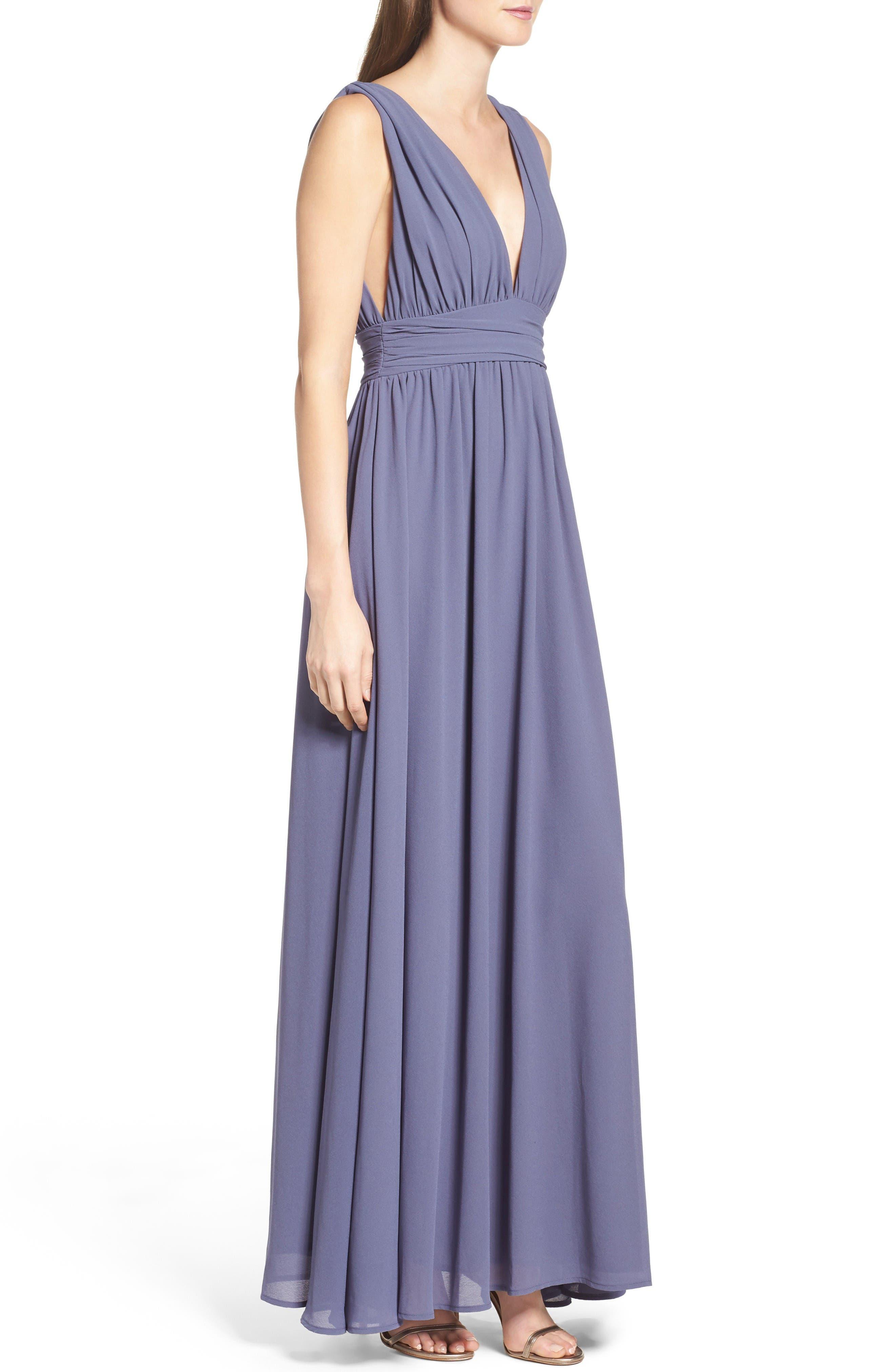 Alternate Image 3  - Lulus Plunging V-Neck Chiffon Gown