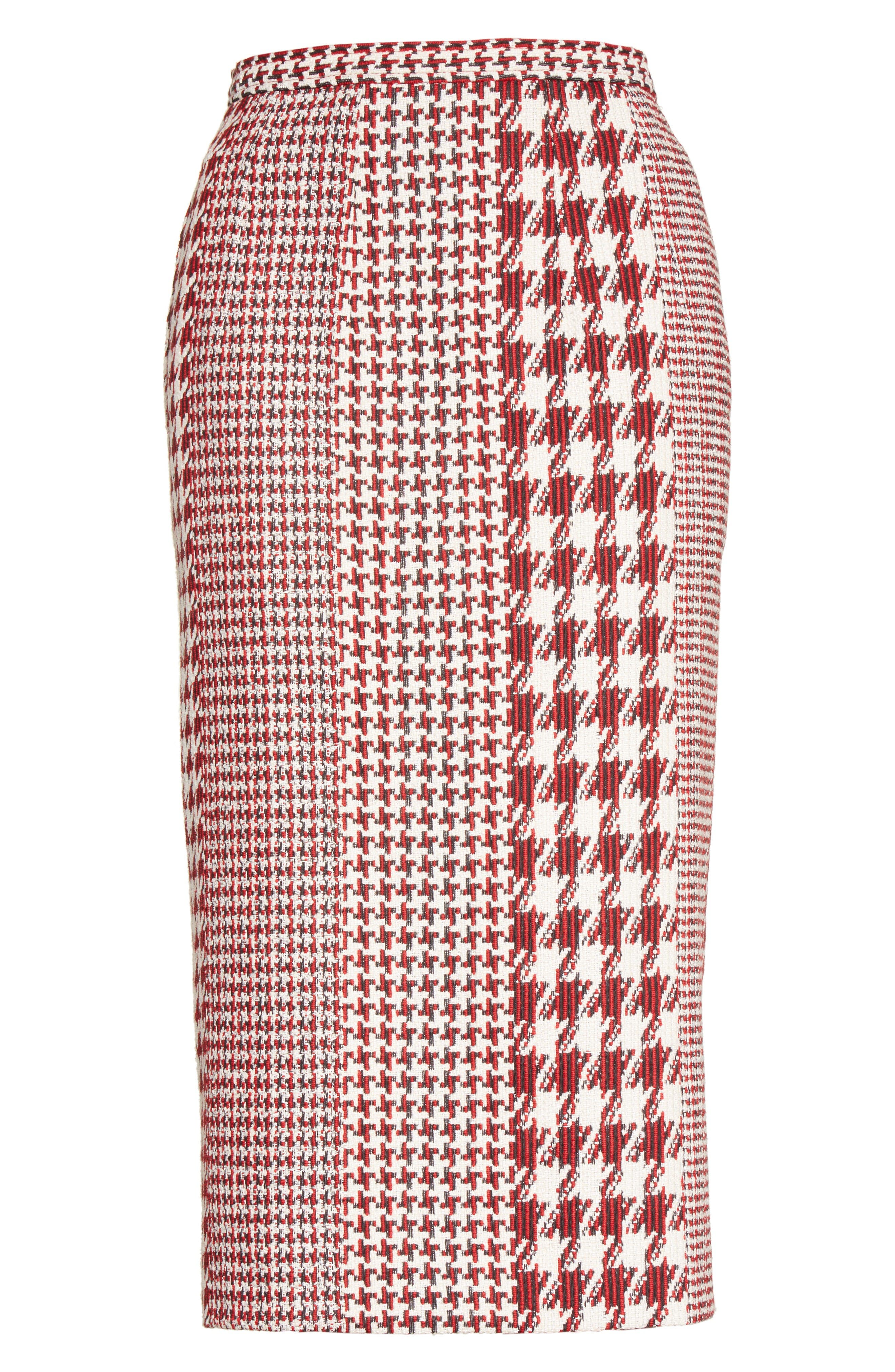 Houndstooth Pencil Skirt,                             Alternate thumbnail 4, color,                             Red Multi