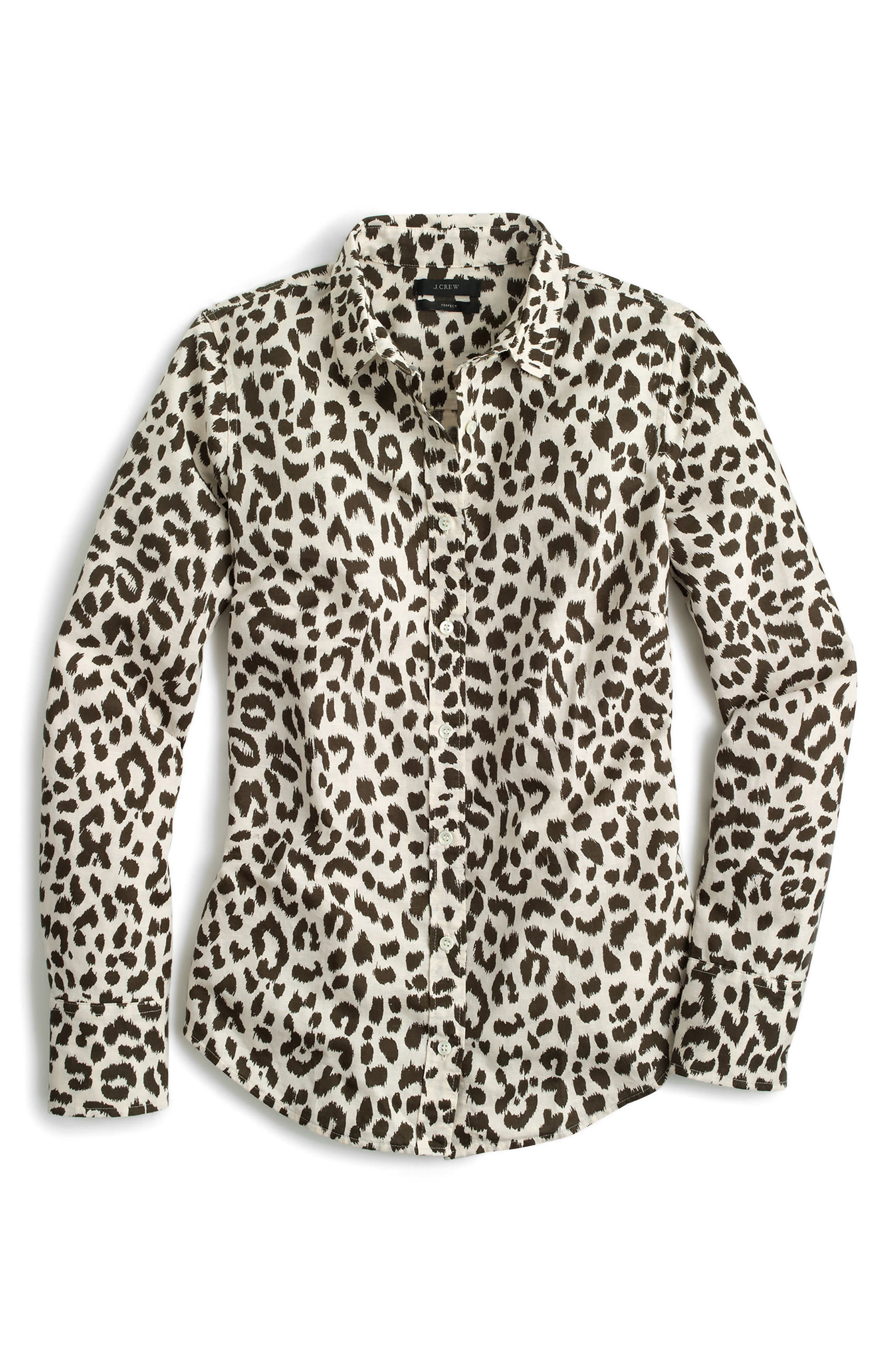 Alternate Image 3  - J.Crew Perfect Leopard Print Linen & Coton Shirt