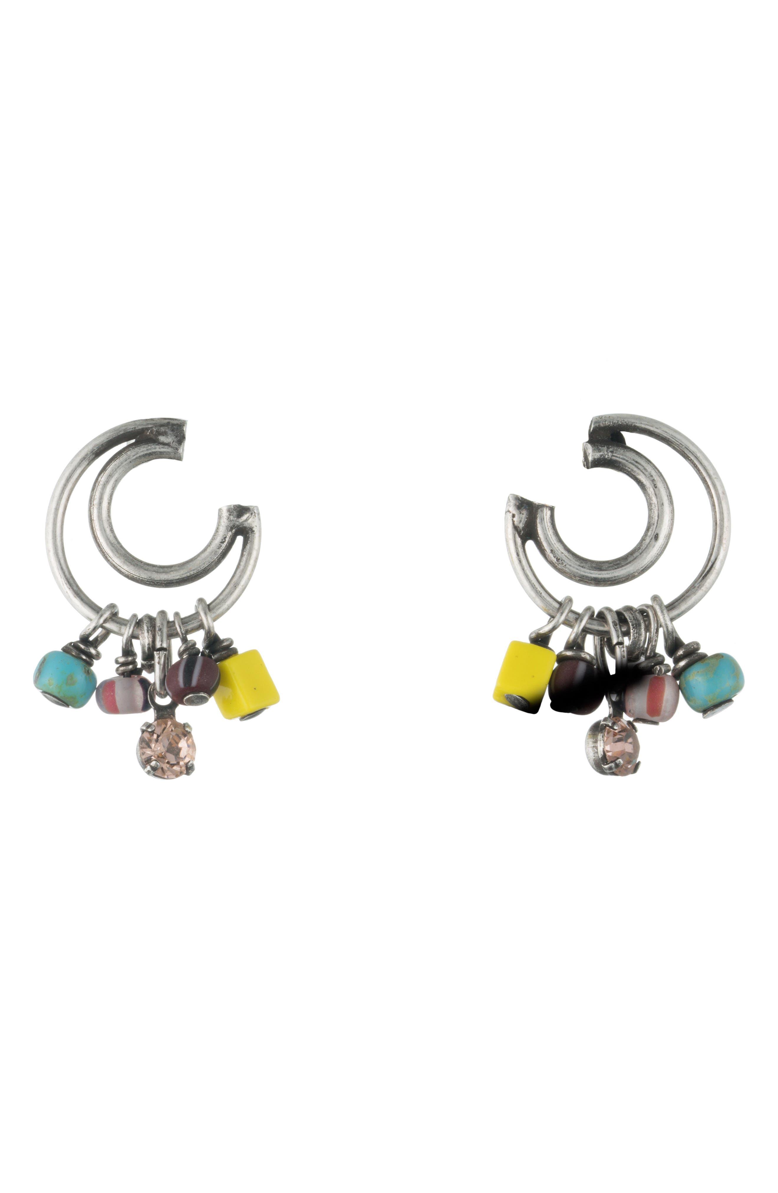 Caru Drop Earrings,                         Main,                         color, Silver Multi